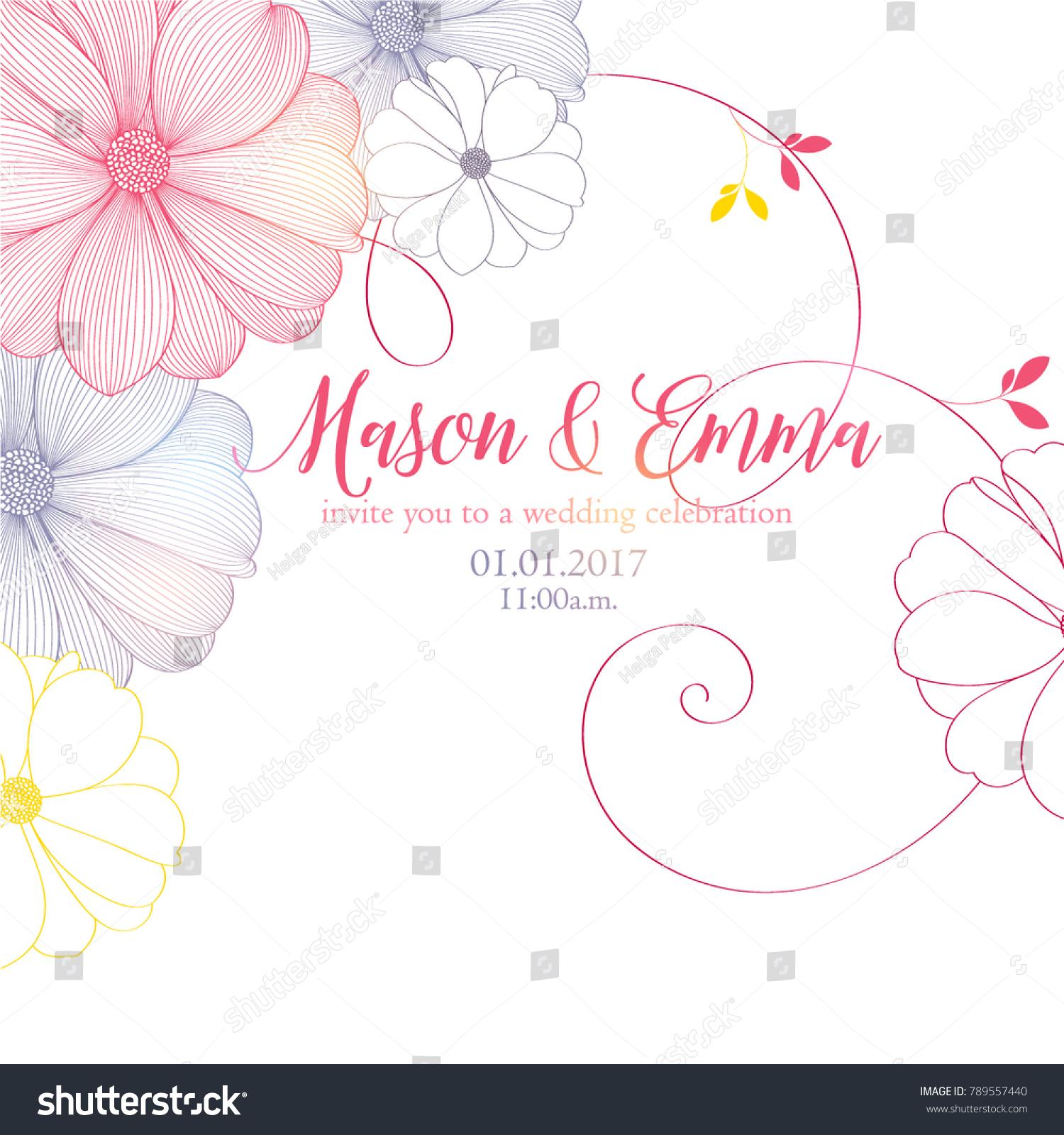 Cute Wedding Invitation Flowers Dahlias Congratulations Stock Vector ...