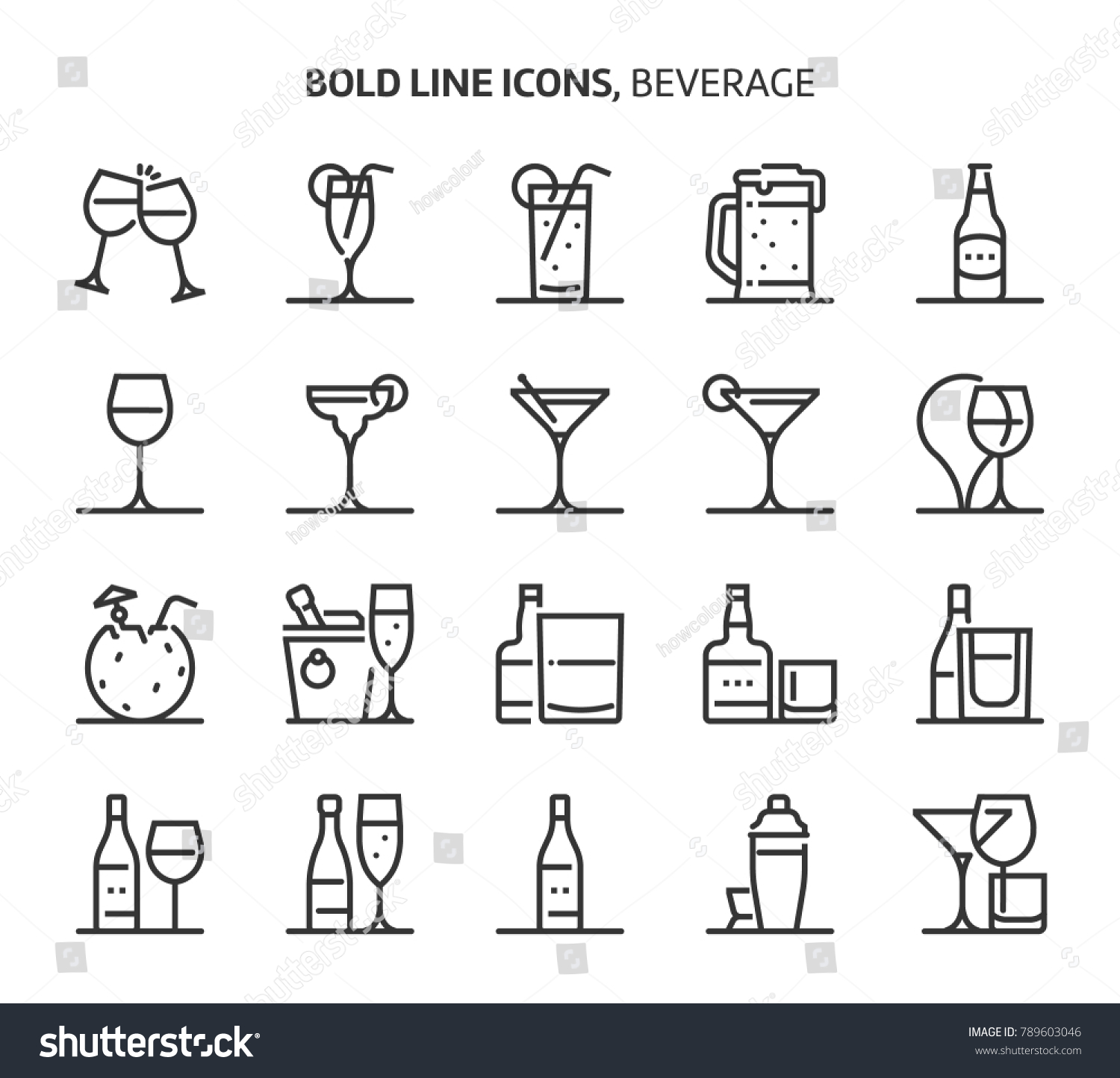 Beverage, bold line icons. The illustrations are a vector, editable stroke, 48x48 pixel perfect files. Crafted with precision and eye for quality.