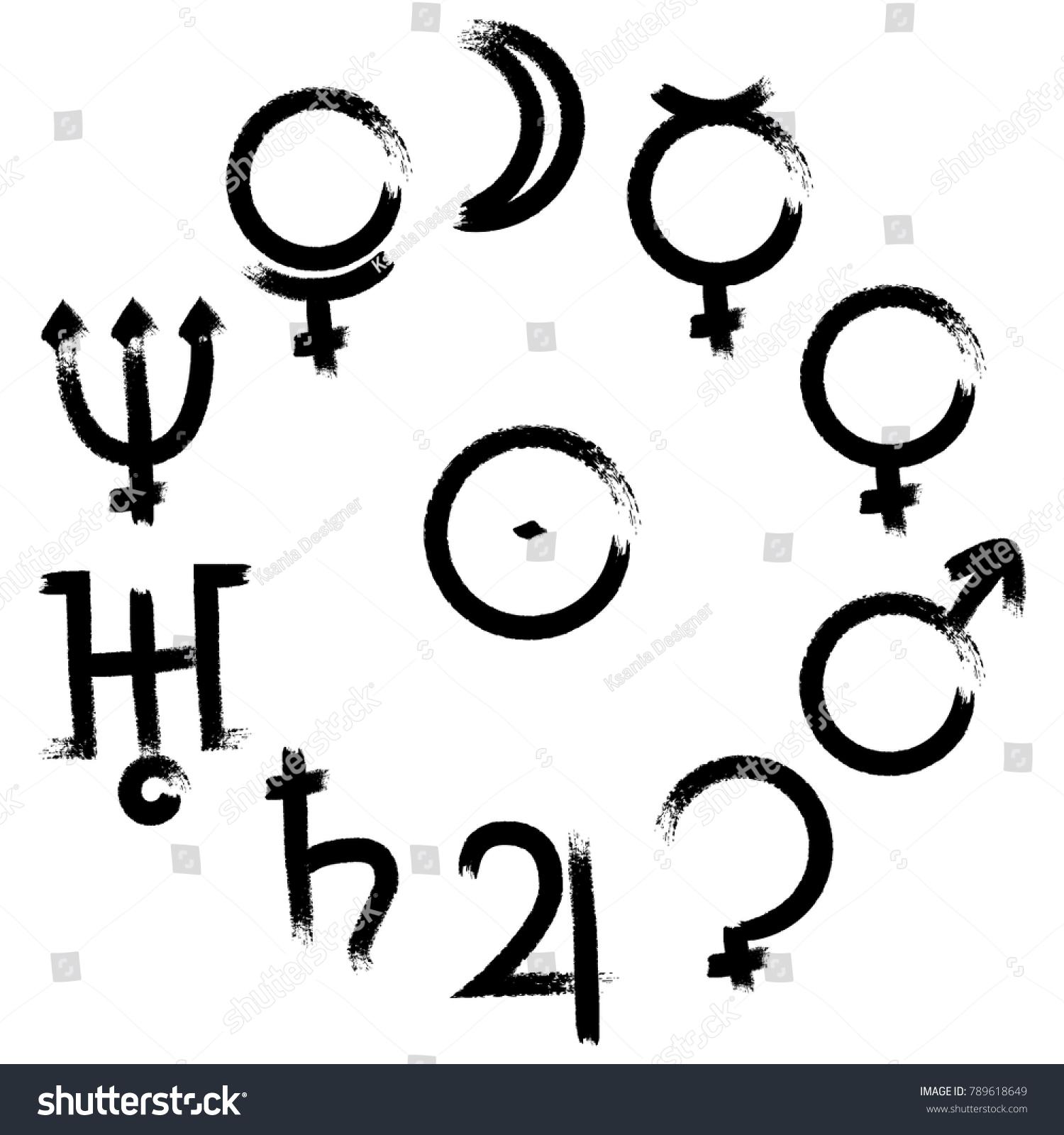 Calligraphic Vector Set Astrology Astronomy Symbols Stock Vector