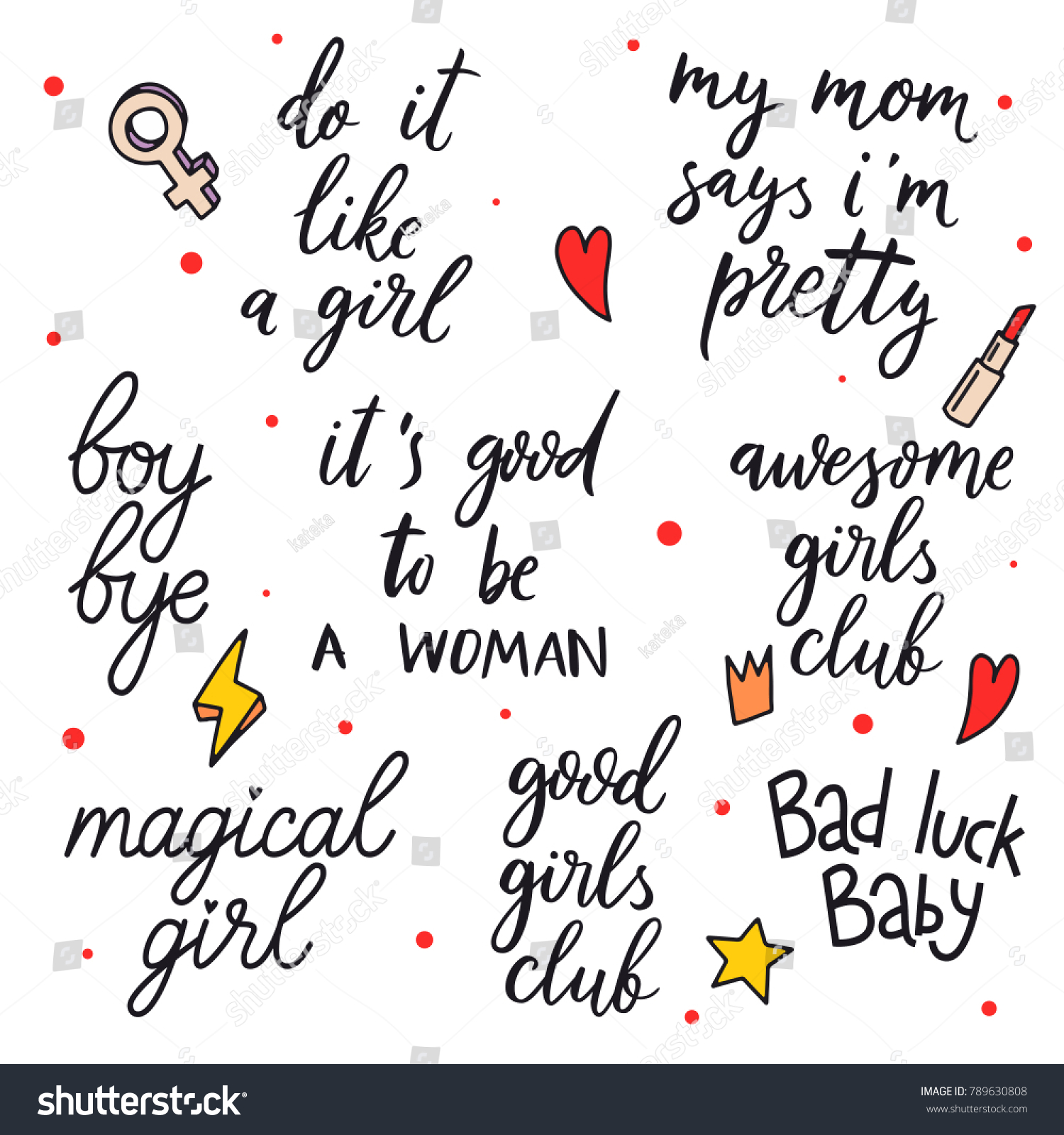 Quotes About A Girl Hand Drawn Girls Quotes Do Like Stock Vector 789630808  Shutterstock