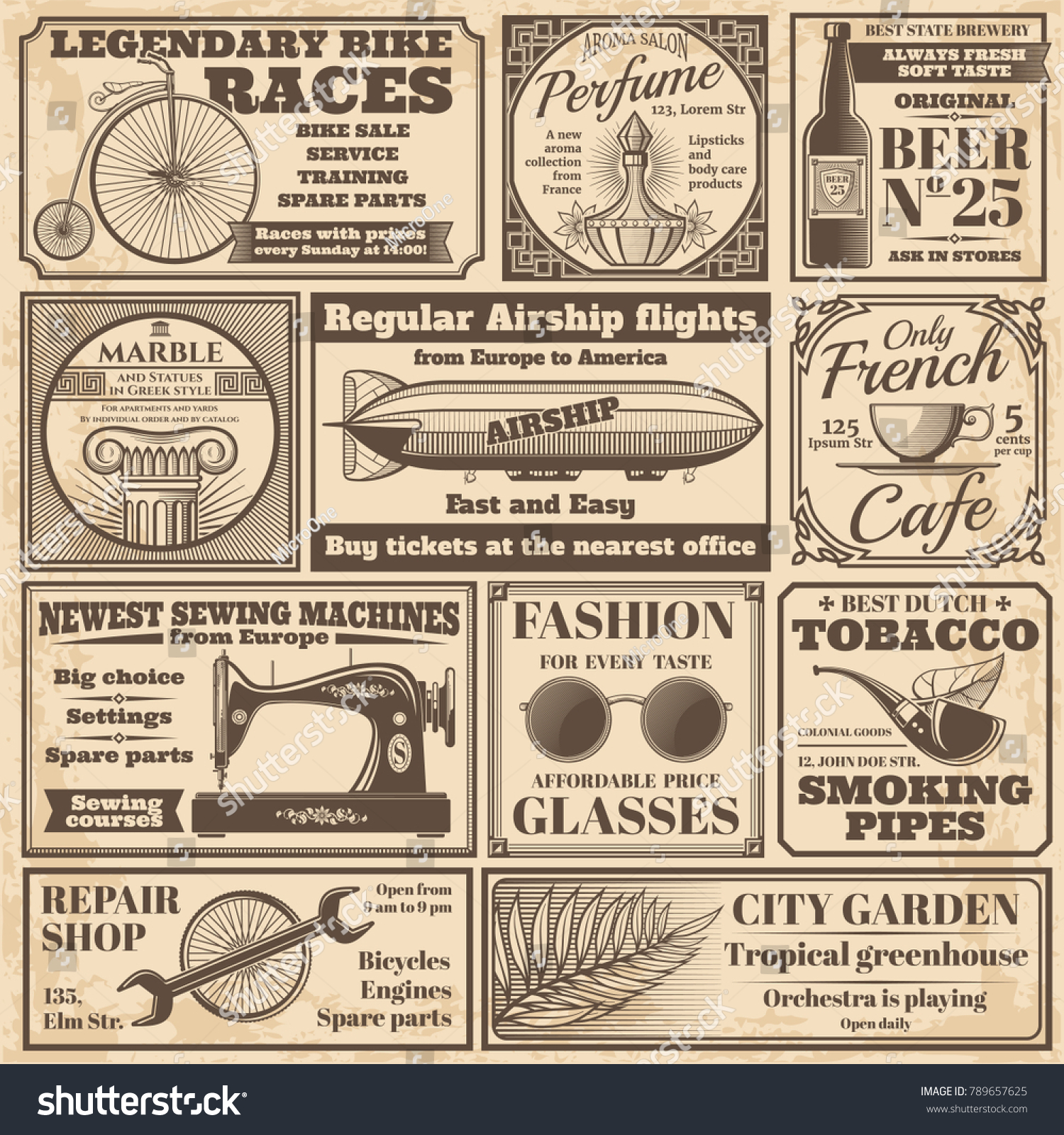 Vintage Newspaper Banners Advertising Labels Vector Stock Vector