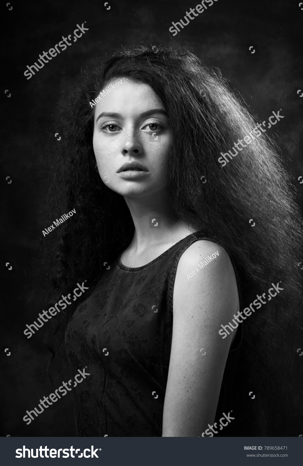 Dramatic black white portrait beautiful lonely stock photo edit now
