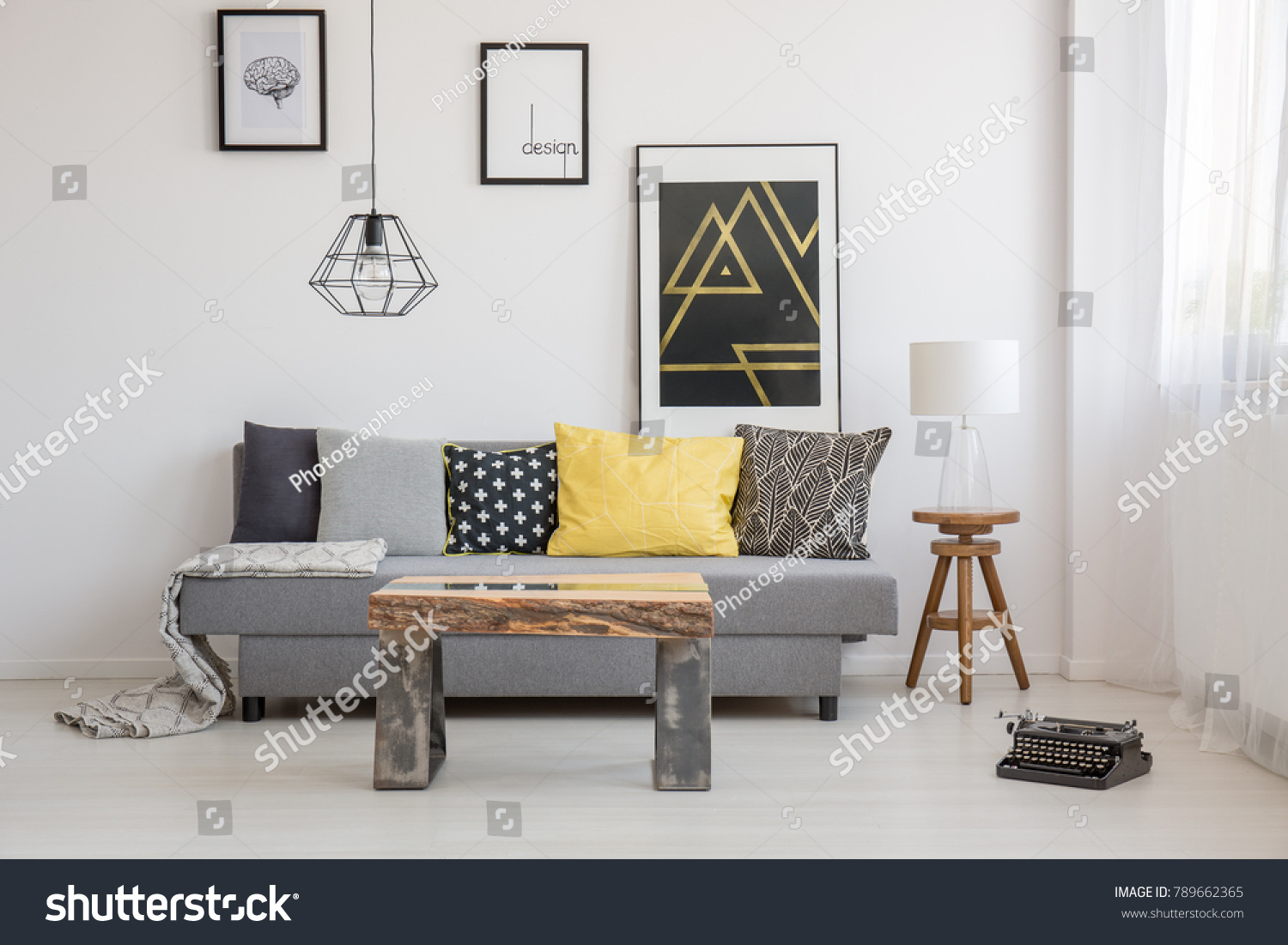 Simple Industrial Interior Design Living Room Stock Photo (Royalty ...