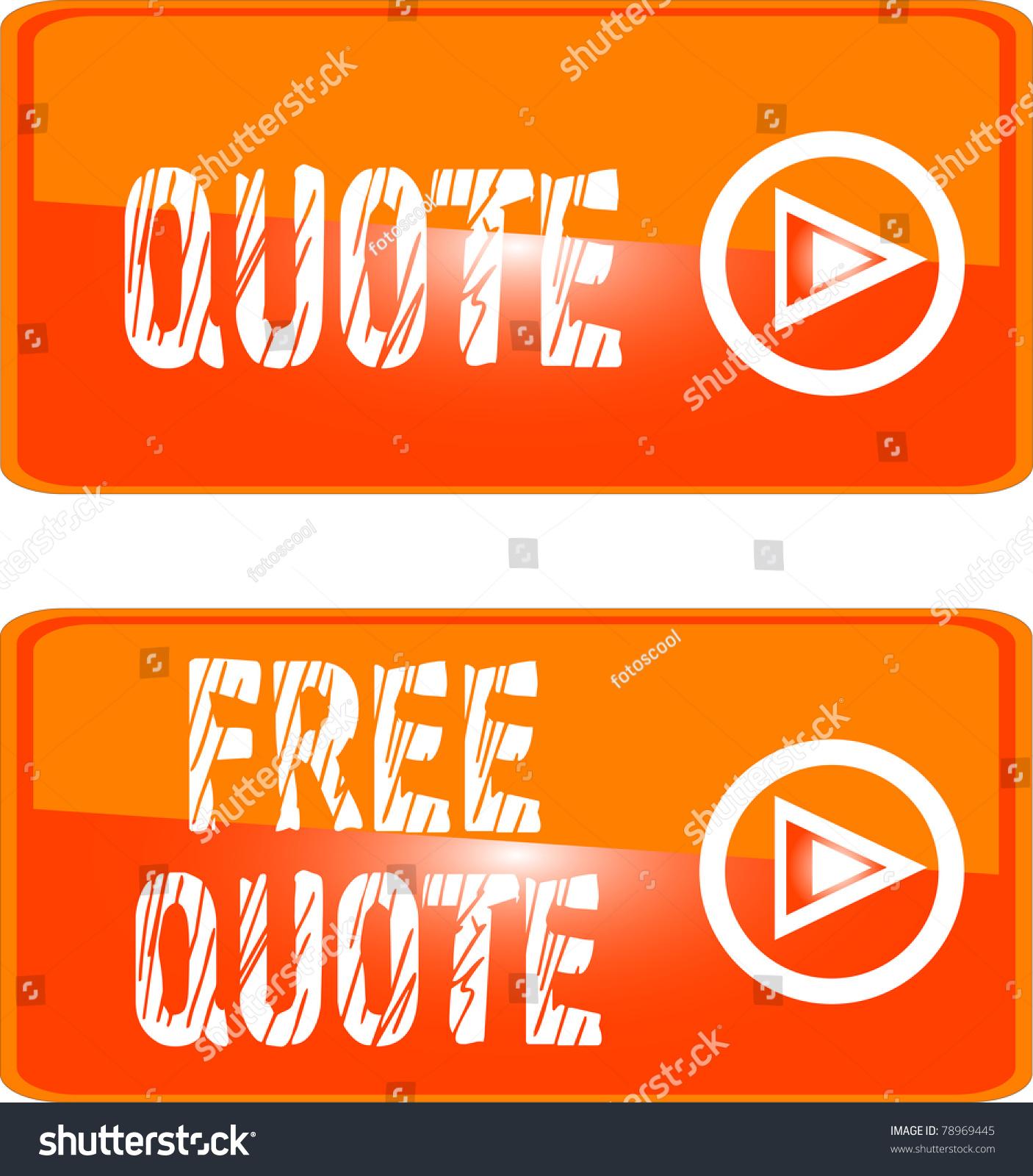 Free Quote Free Quote Orange Icon Button Sign Stock Vector 78969445