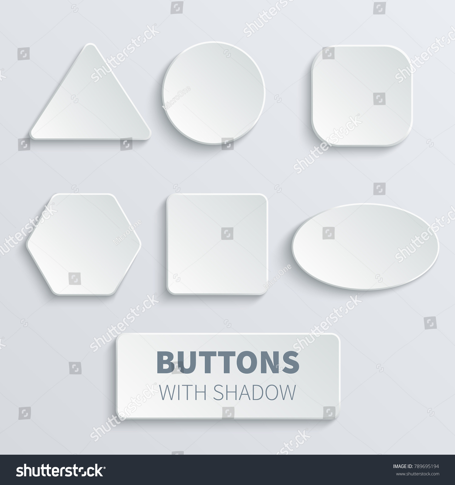 White 3d blank square and rounded button vector set. Button banner round, badge interface for application illustration #789695194