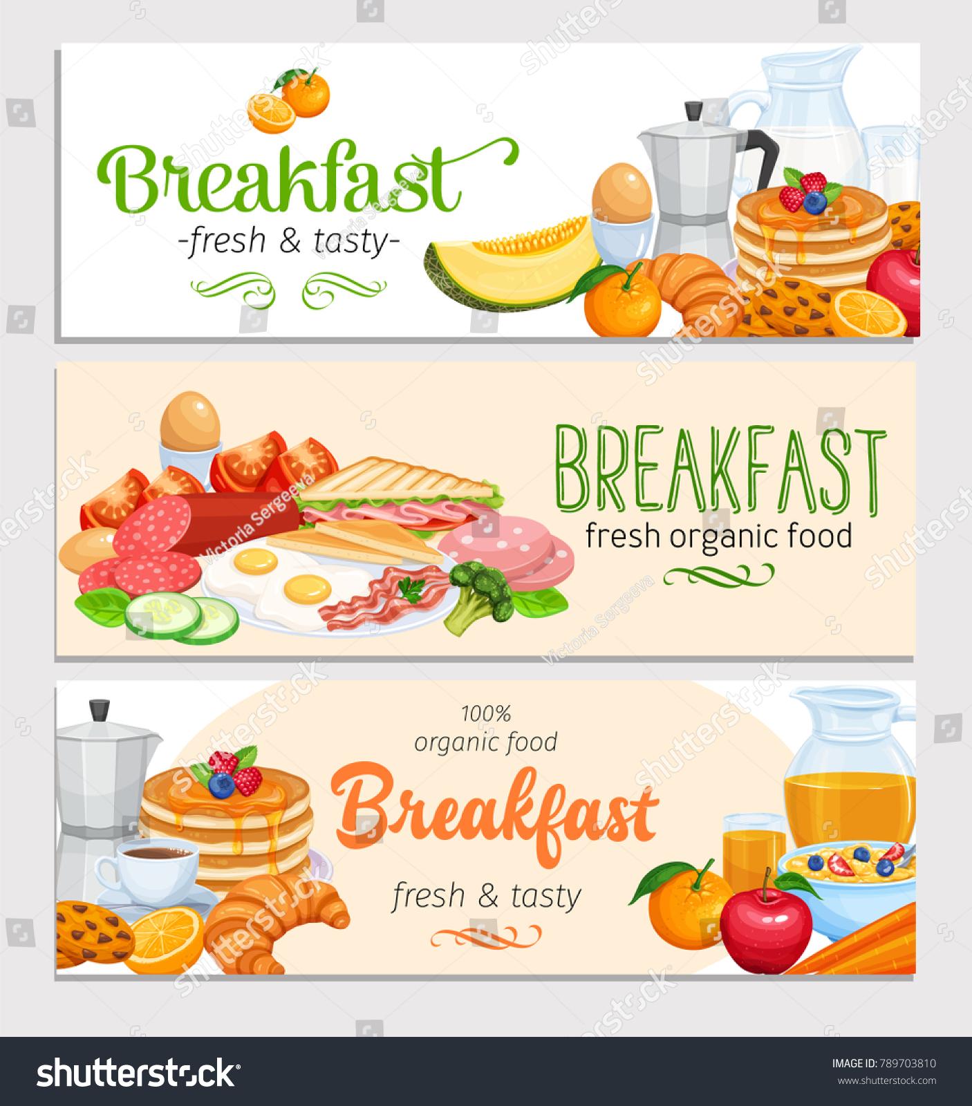 Breakfast banners template food design vector stock vector royalty breakfast banners template food design vector jug of milk coffee pot cup forumfinder Gallery
