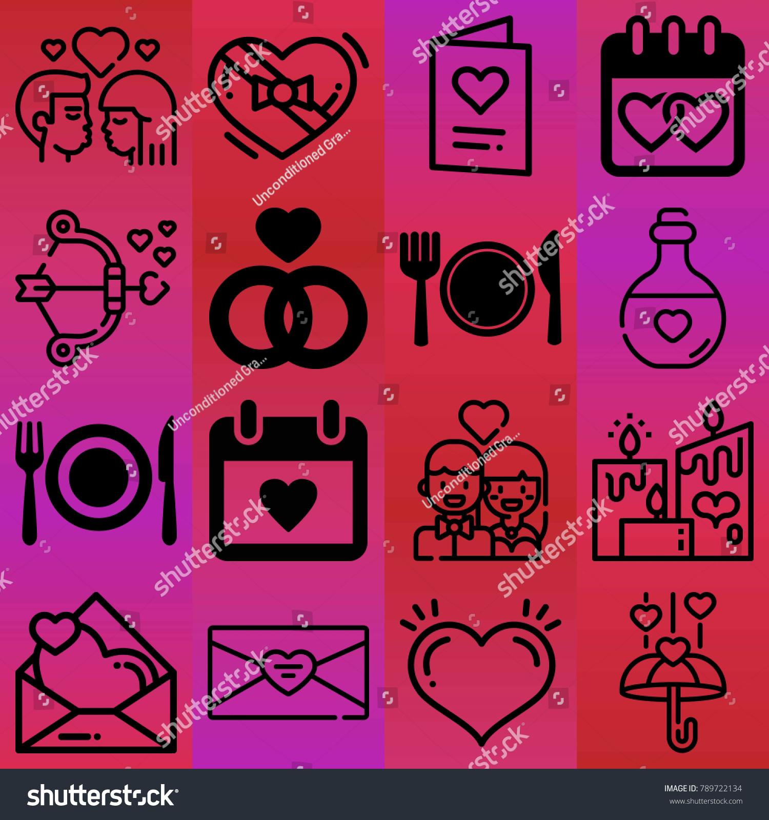 Valentines Day Vector Icon Set Consisting Stock Photo (Photo, Vector ...
