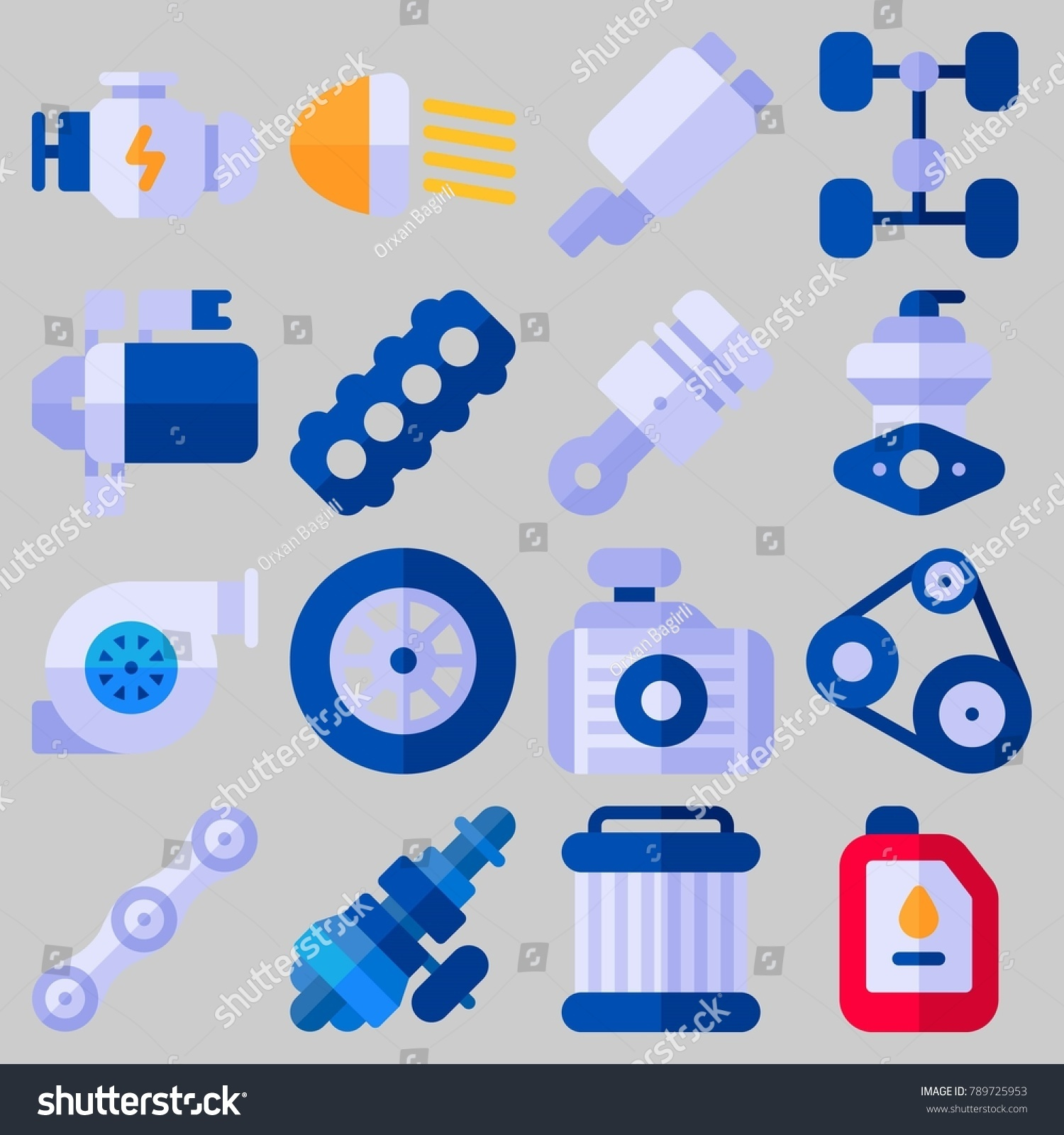 Icon Set About Car Engine Keywords Stock Vector 789725953 Shutterstock