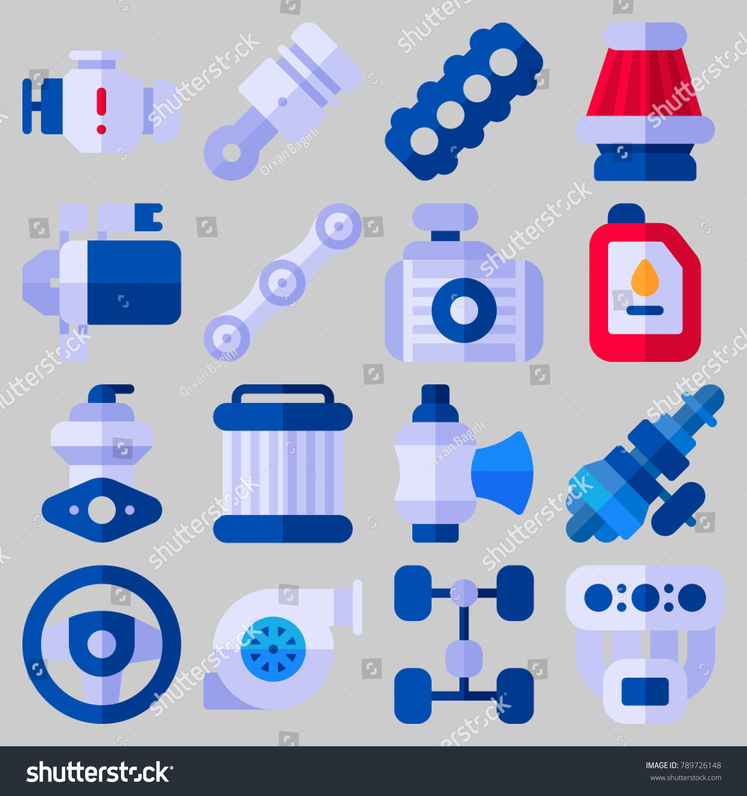 Icon Set About Car Engine Keywords Stock Vector 789726148 Shutterstock