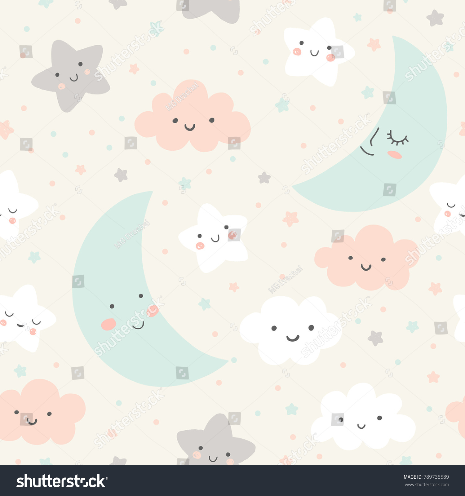 cute sky pattern seamless vector design with smiling sleeping moon