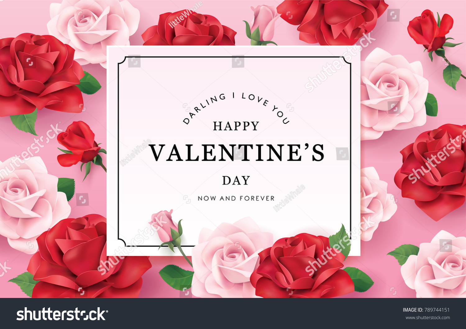 Happy Valentines Day Romance Greeting Card Stock Vector Royalty