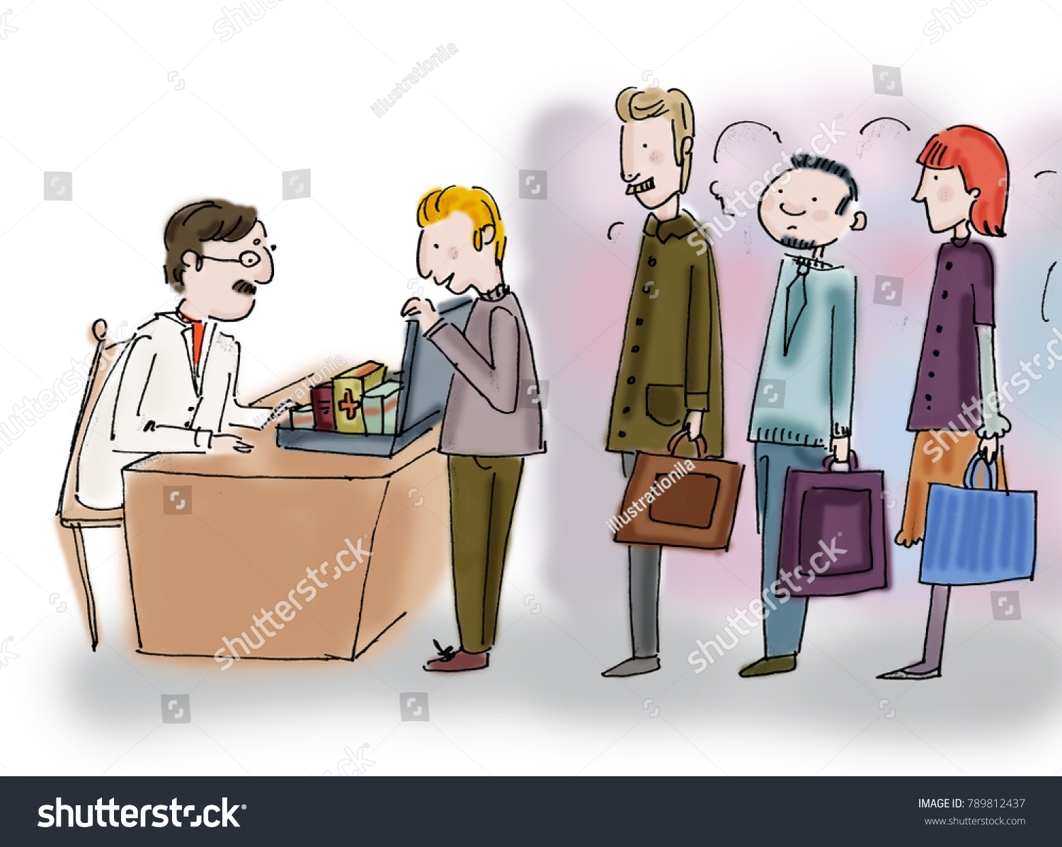 Pharmaceutical Representatives Inch Doctor Stock Illustration