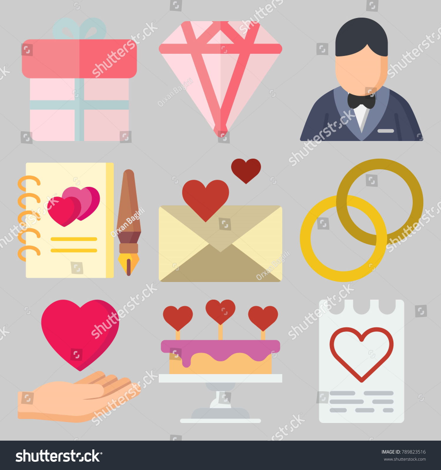 Icon Set About Wedding Keywords Groom Stock Vector 789823516 ...