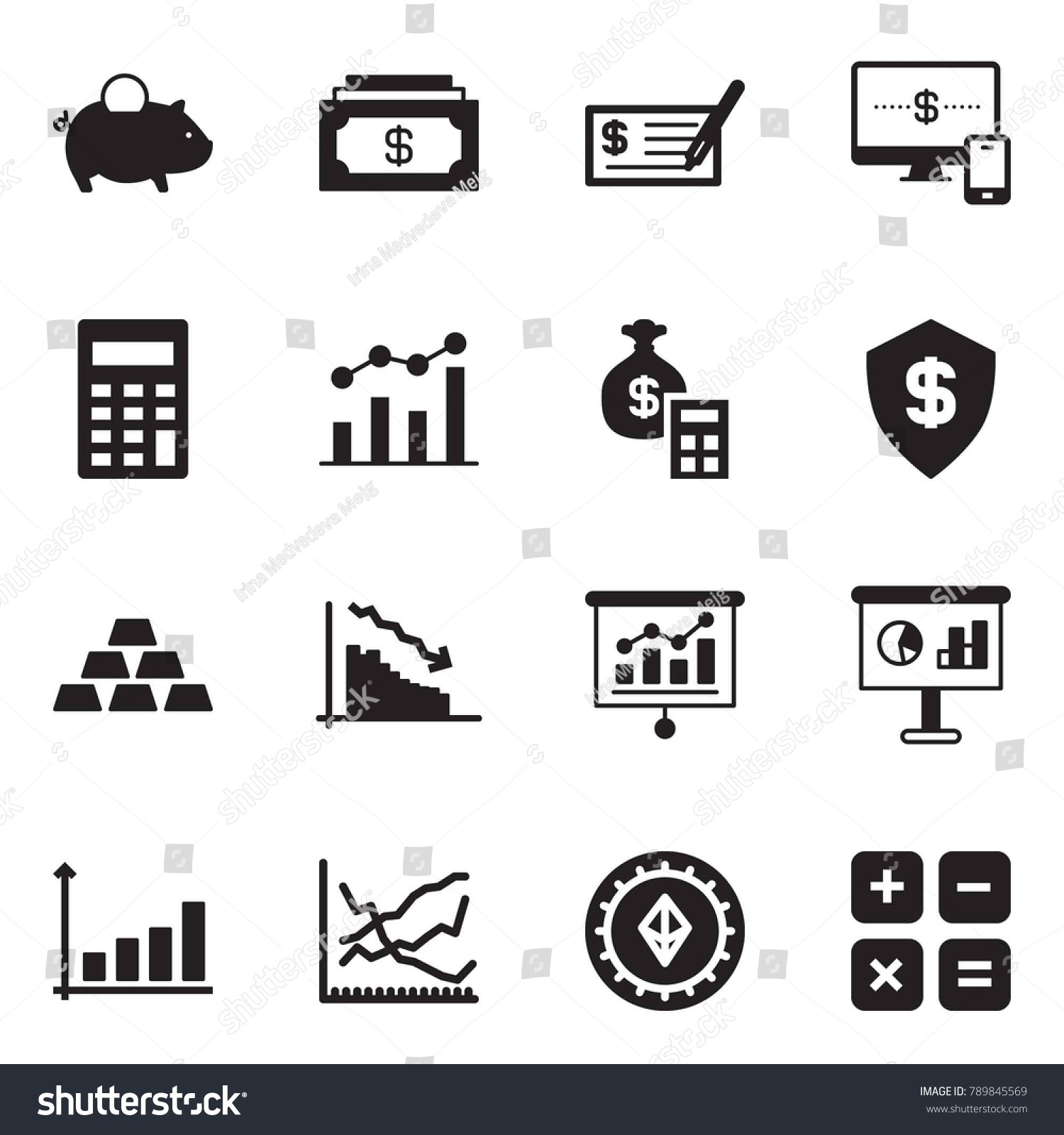Solid black vector icon set piggy stock vector 789845569 shutterstock solid black vector icon set piggy bank vector cash check monitor and geenschuldenfo Choice Image