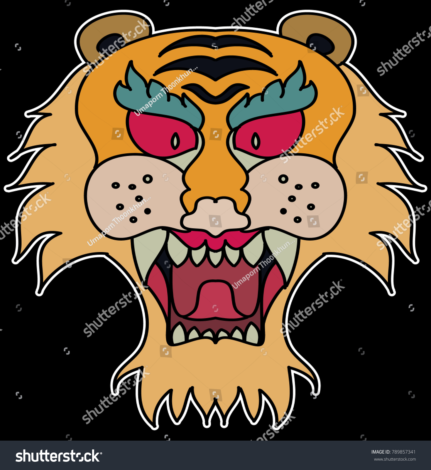 331606812 The mask Tiger face sticker vector.Tiger head traditional tattoo.Tiger  roaring