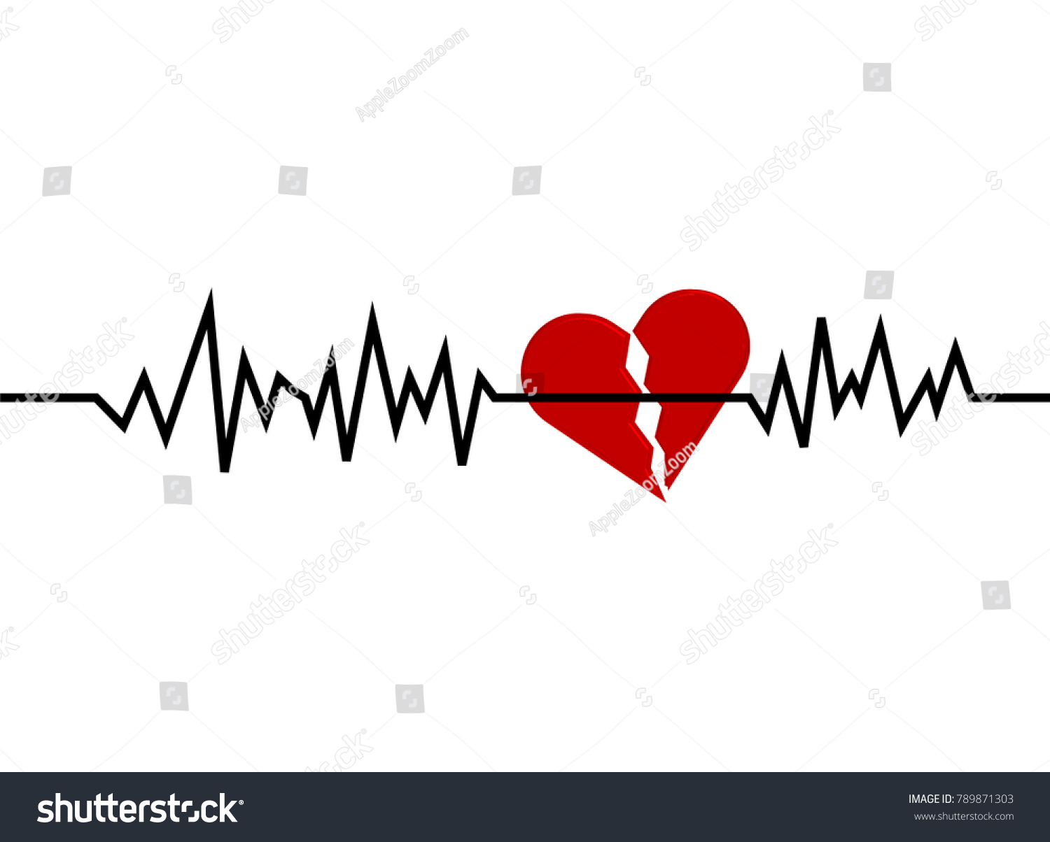 Red Broken Heart Icon Sign Heartbeat Stock Vector Royalty Free