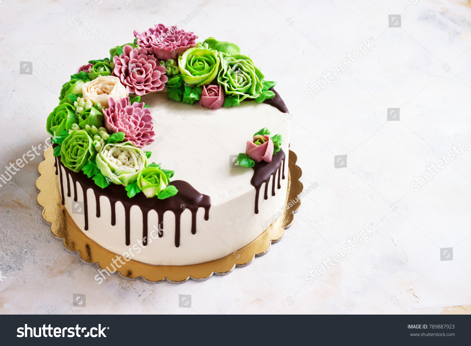 Birthday cake flowers rose on white stock photo edit now 789887923 birthday cake with flowers rose on white background malaysian flowers izmirmasajfo