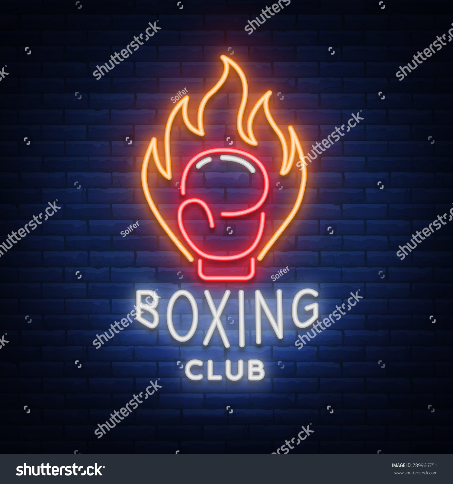 Royalty Free Stock Illustration Of Boxing Club Logo Neon Style