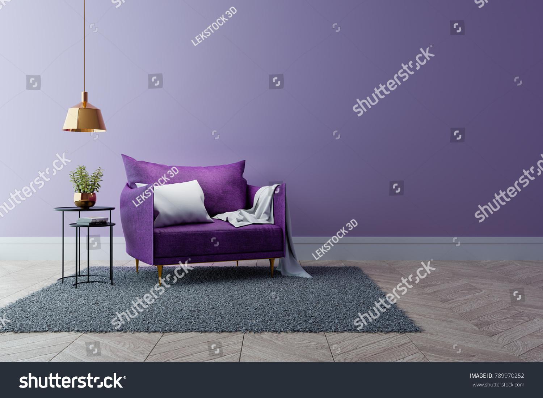 Luxury Modern Interior Living Room Ultraviolet Stock Illustration ...