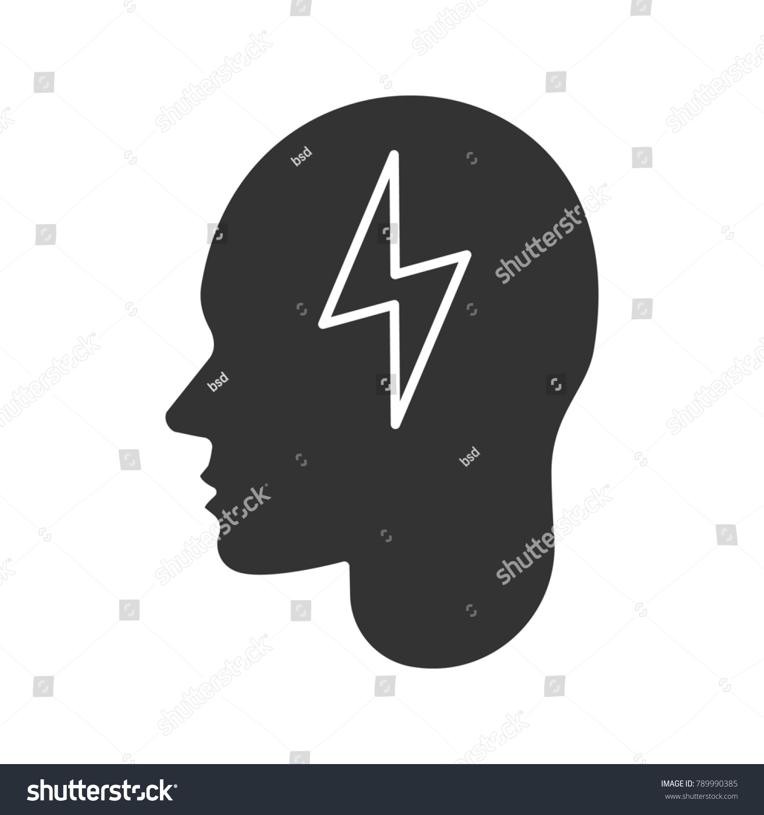 Human head lightning bolt glyph icon stock illustration 789990385 human head with lightning bolt glyph icon artificial intelligence silhouette symbol brain charging buycottarizona