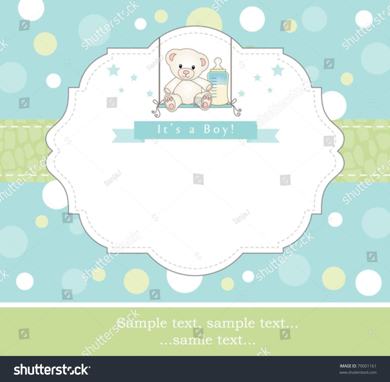 New Baby Boy Shower Invitation Stock Vector 79001161