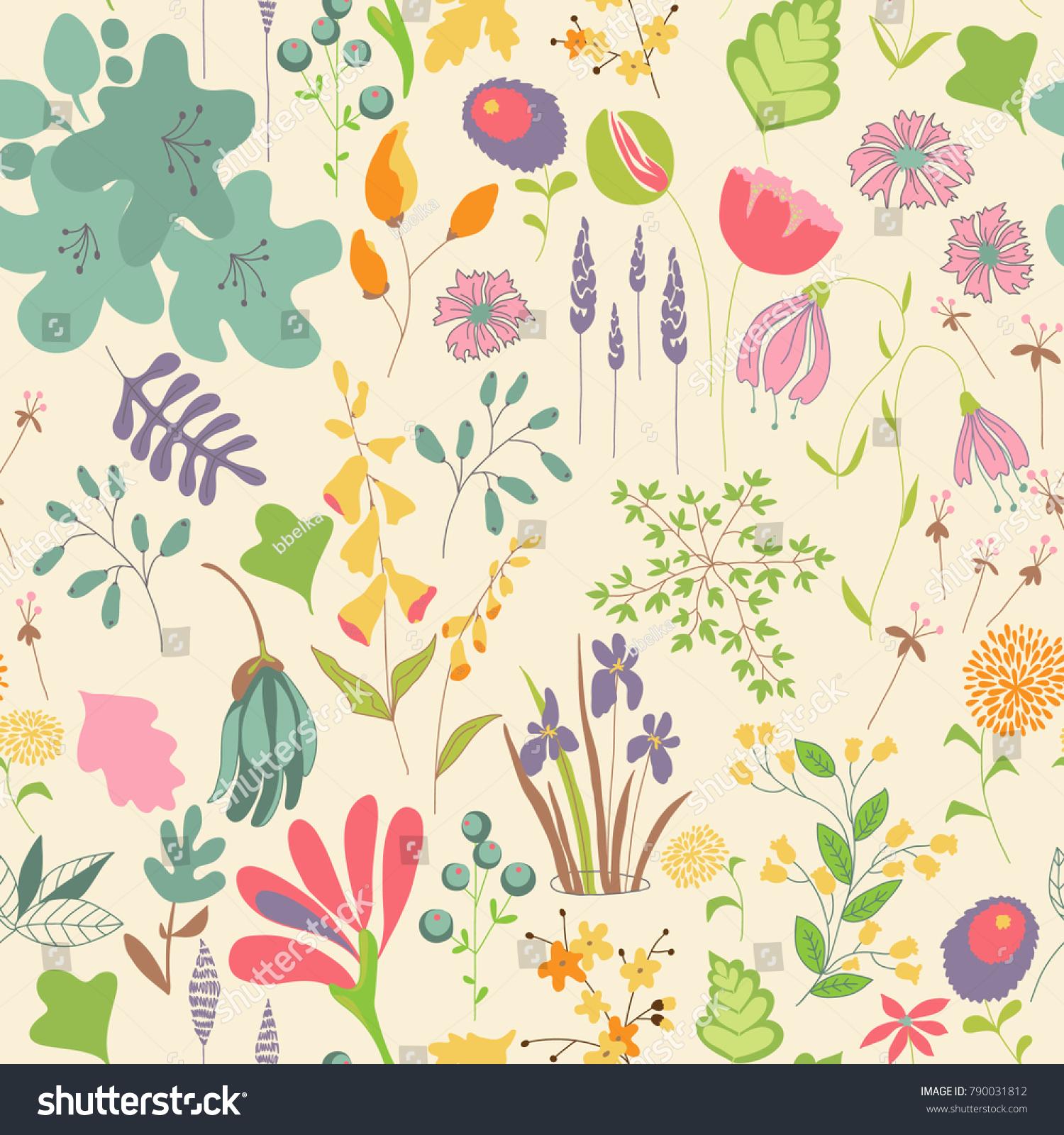 Vector Flower Pattern Seamless Botanic Texture Stock Vector Royalty