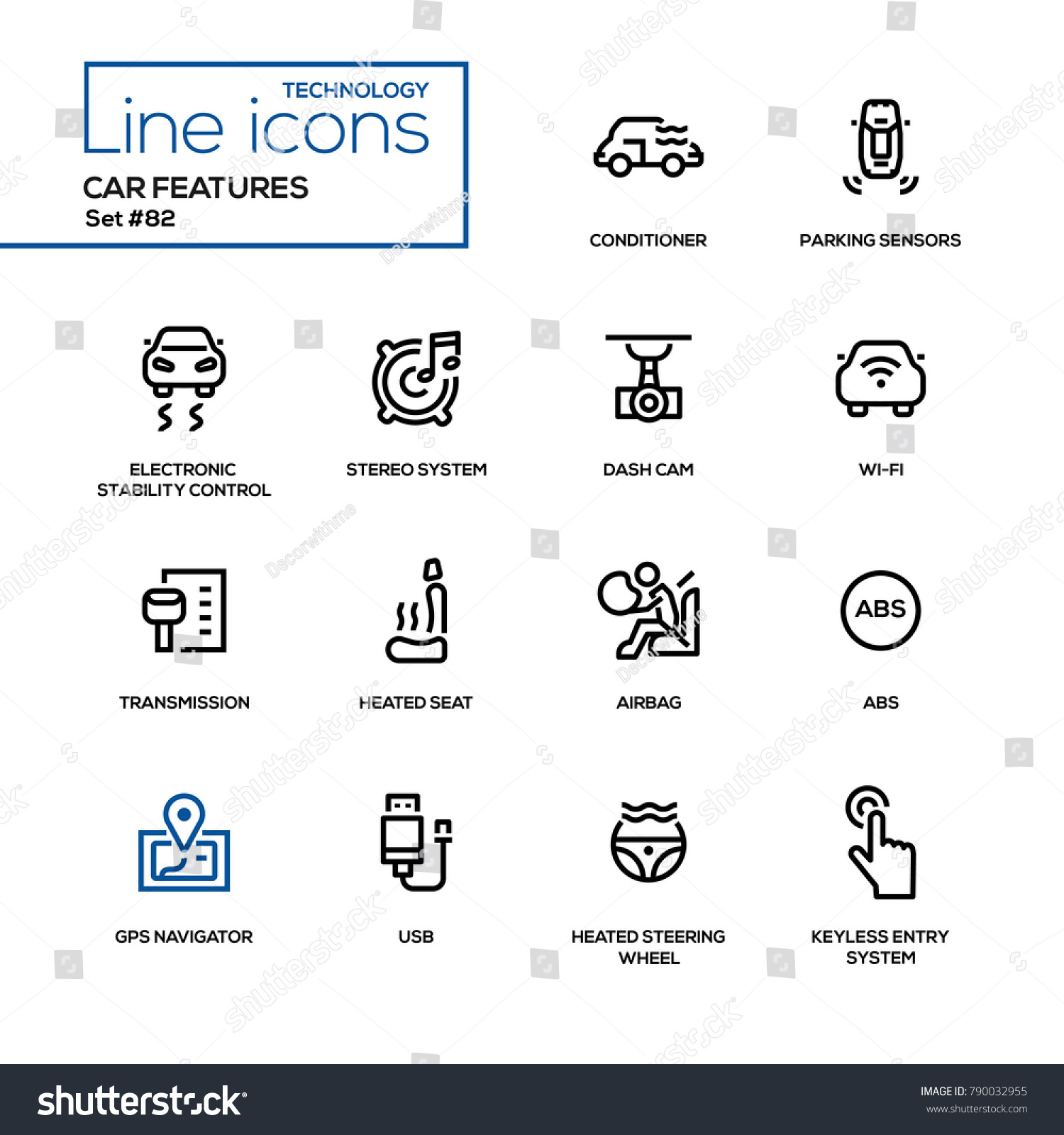 Car Features Line Design Icons Set Stock Vector