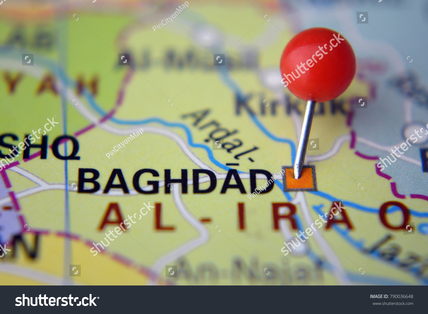 Pin Baghdad On Map Iraq Stock Photo (Edit Now) 790036648 - Shutterstock