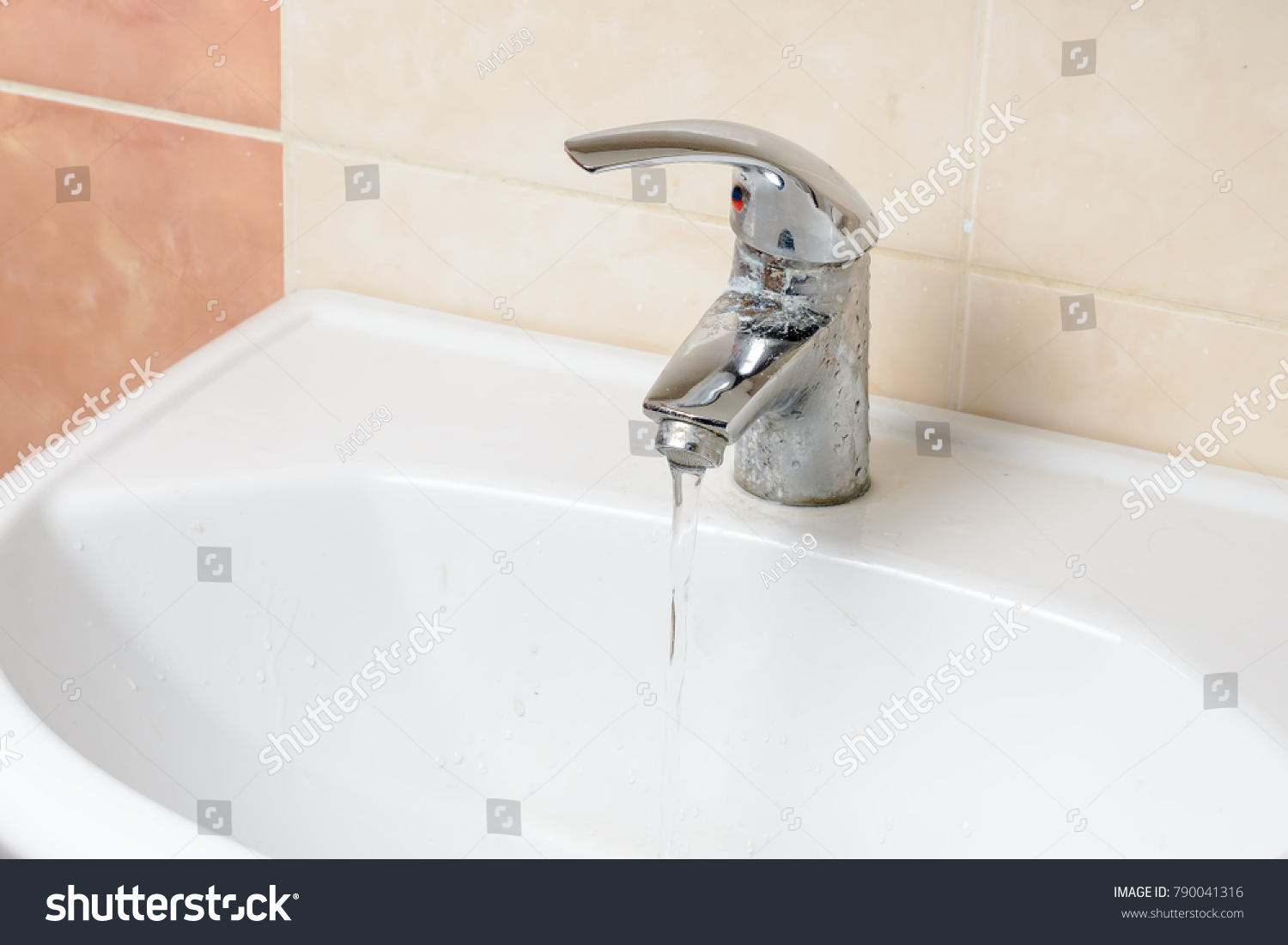Dirty Water Faucet Bathroom Stock Photo (Royalty Free) 790041316 ...