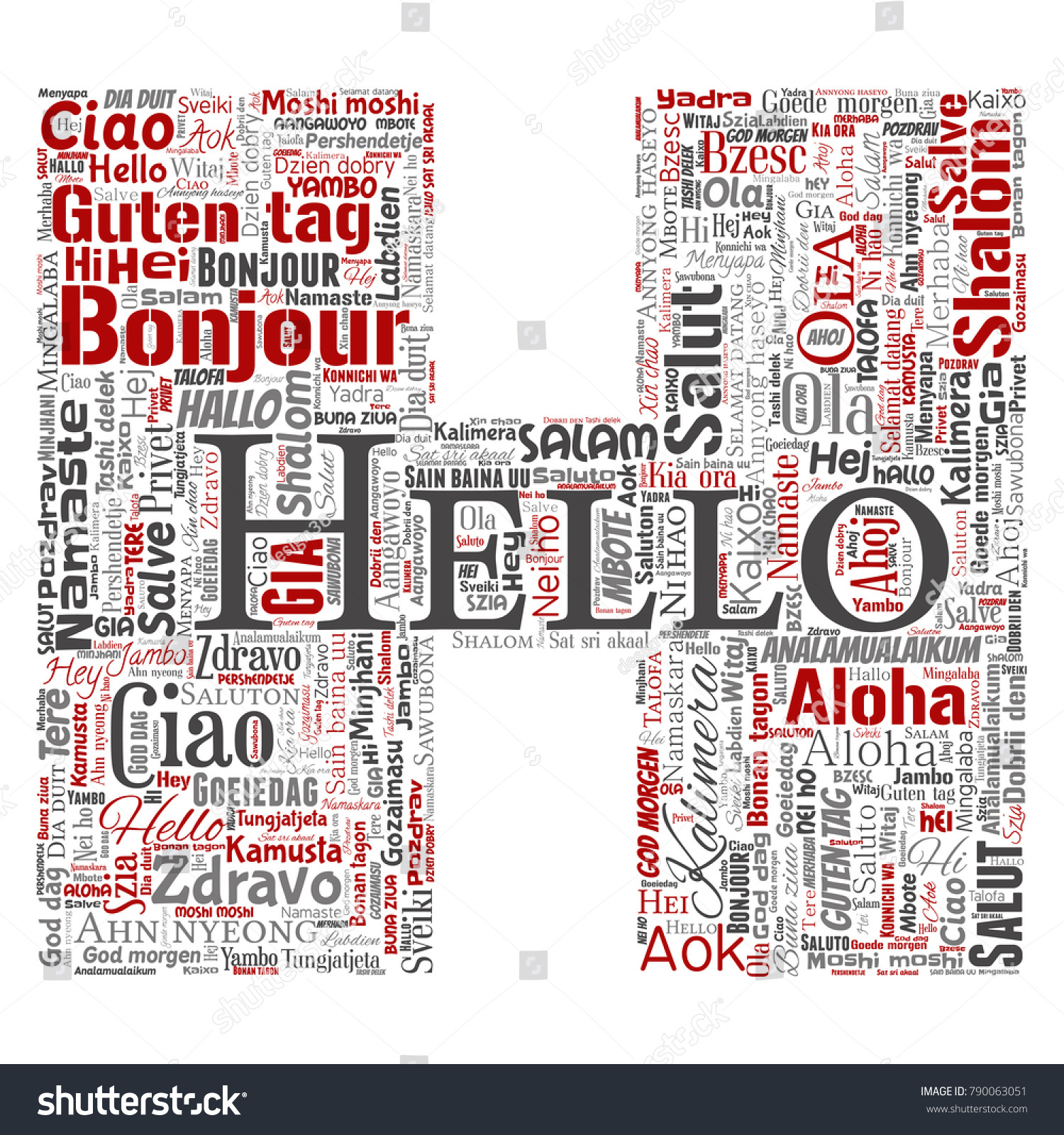 Concept Or Conceptual Letter Font H Hello Greeting International Tourism Word Cloud In Different Languages
