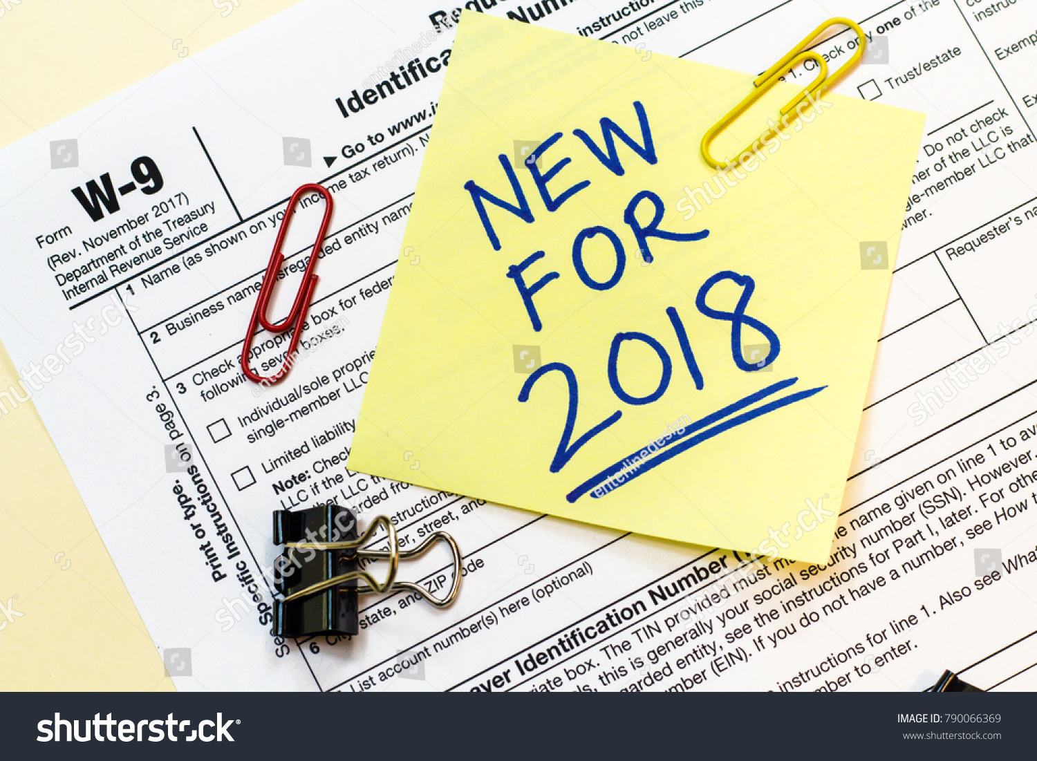 W 9 Tax Form New 2018 Written Stock Photo Edit Now 790066369