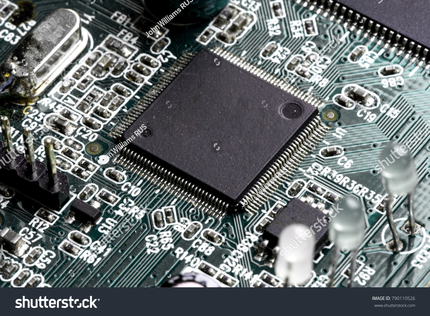Printed Circuit Board Transistors Wiring Diagram Electricity Simple Transistor As An Amplifier Electronic Pcb Macro Stock Photo Royalty Free Rh Shutterstock Com Capacitor