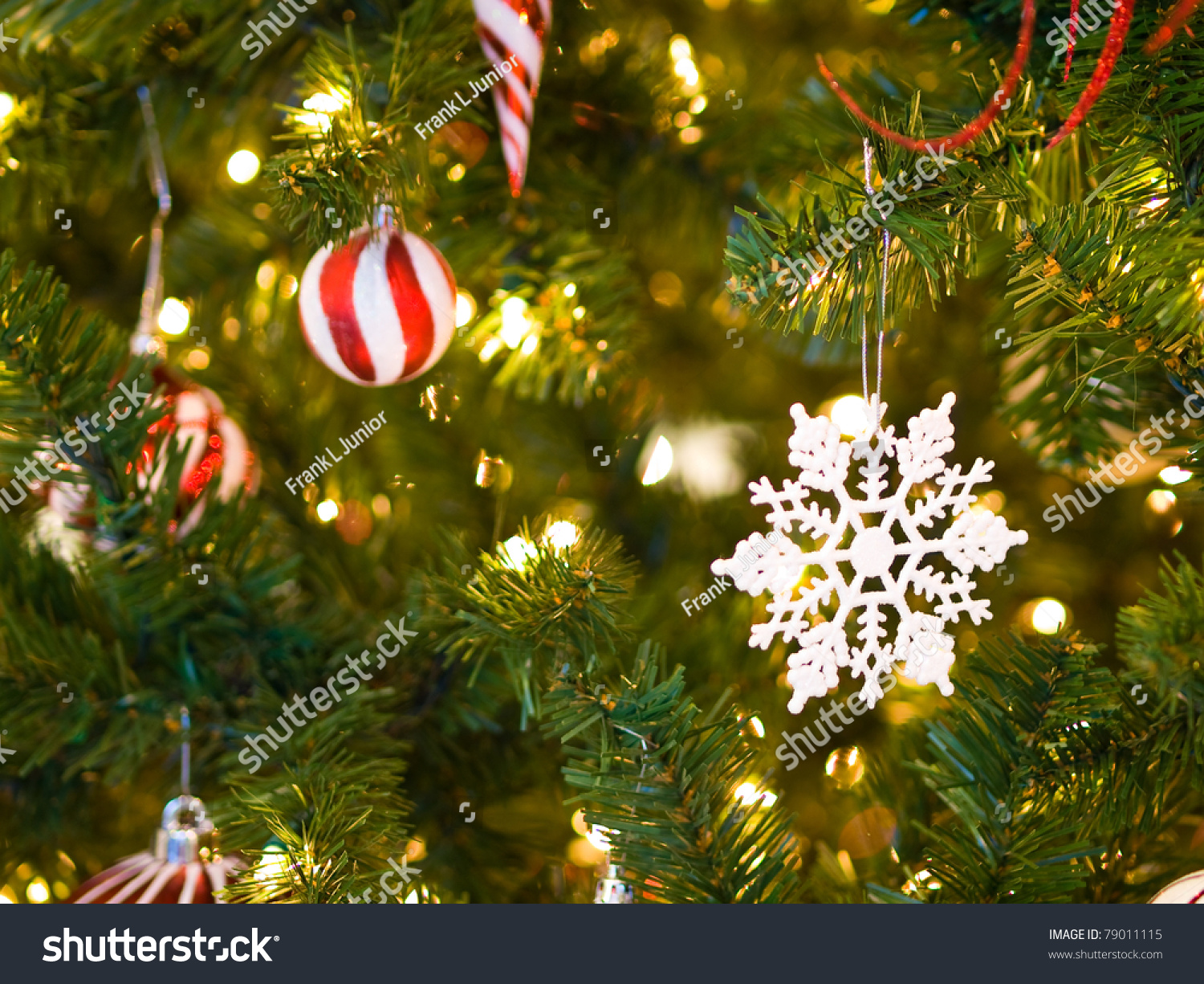 Red And White Christmas Ornaments On A Green Tree With