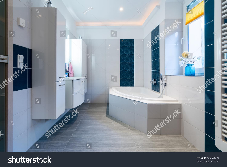 Modern Bathroom Glossy White Blue Tiles Stock Photo (Edit Now ...