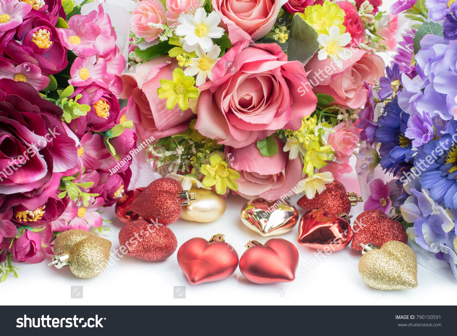 Bouquet colorful fake flowers red heart stock photo edit now bouquet of colorful fake flowers and red heart isolated on white background valentine day concept izmirmasajfo