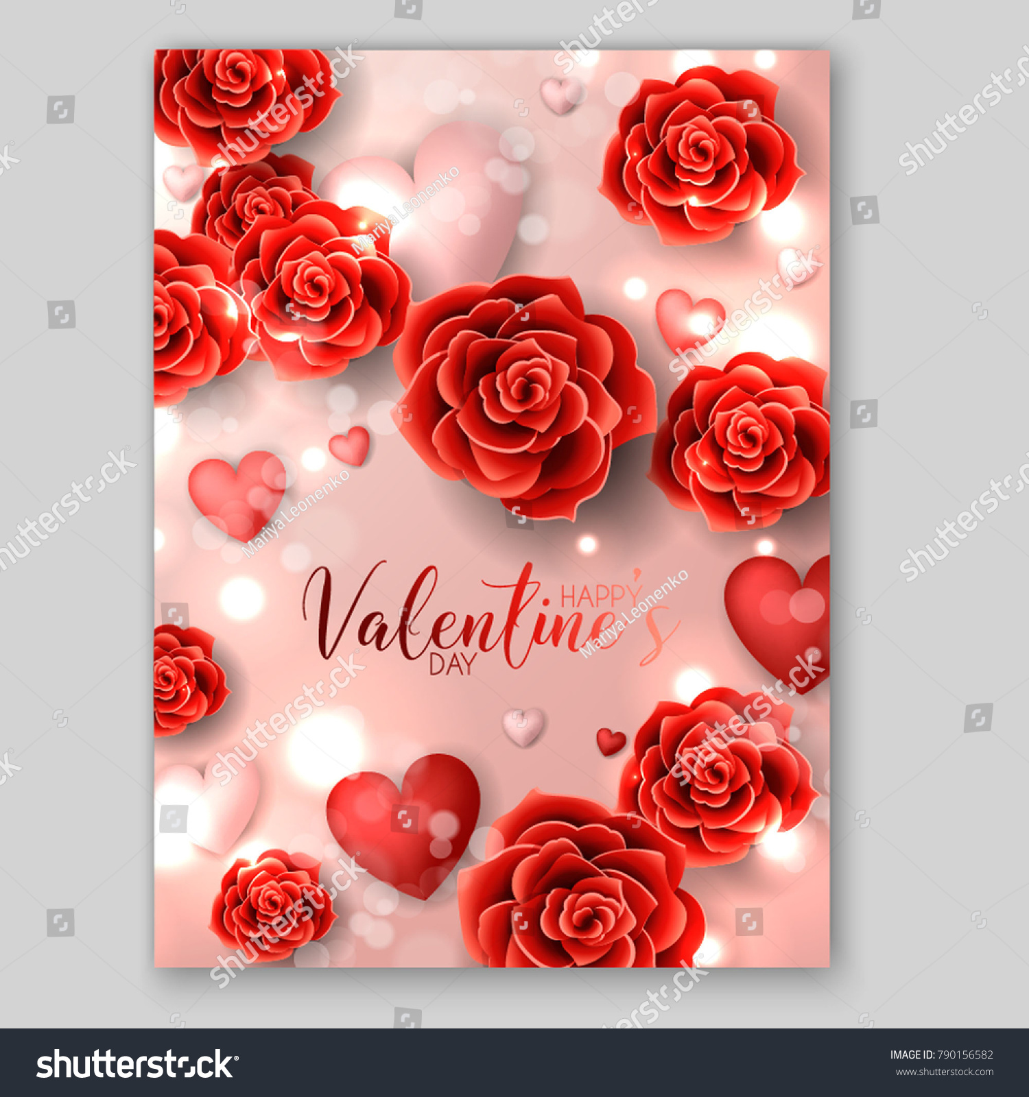 Happy Valentines Day Invitation Red Roses Stock Vector (Royalty Free ...