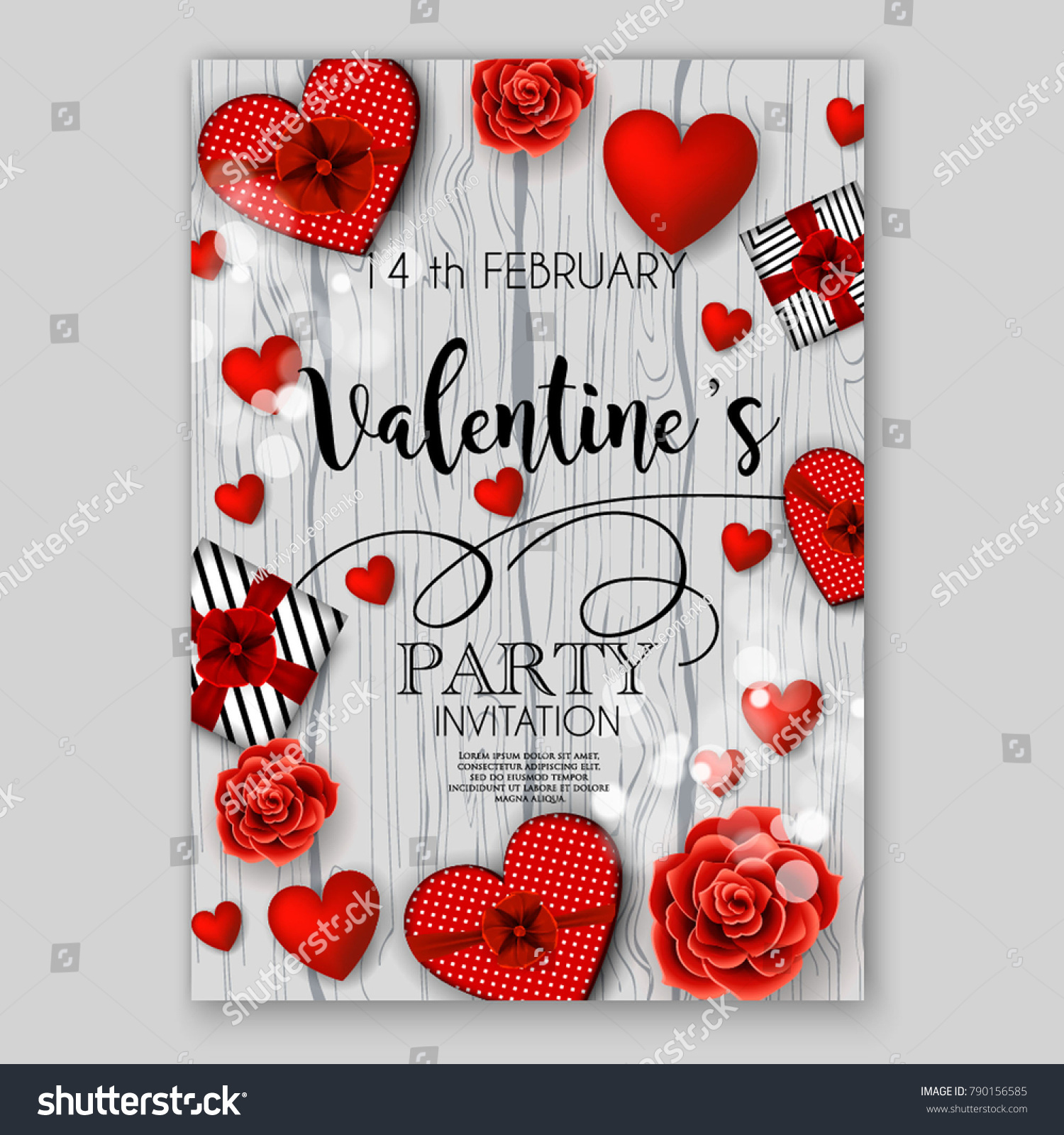 Valentines Day Party Invitation Heart Wedding Stock Vector HD ...