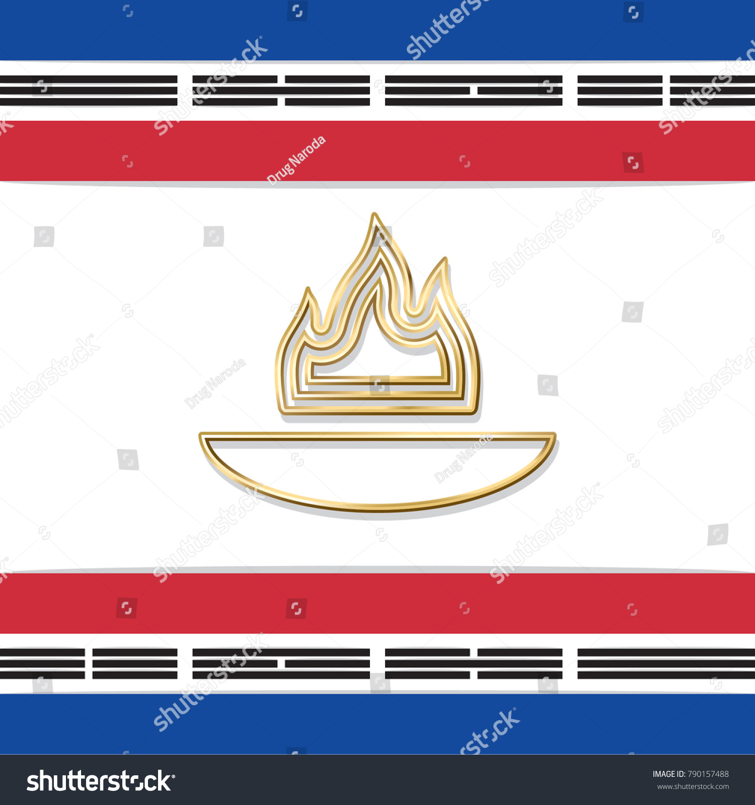 Golden fire symbolic cauldron framed colored stock vector golden fire in symbolic cauldron framed with colored flag stripes composition gold flame black blue buycottarizona