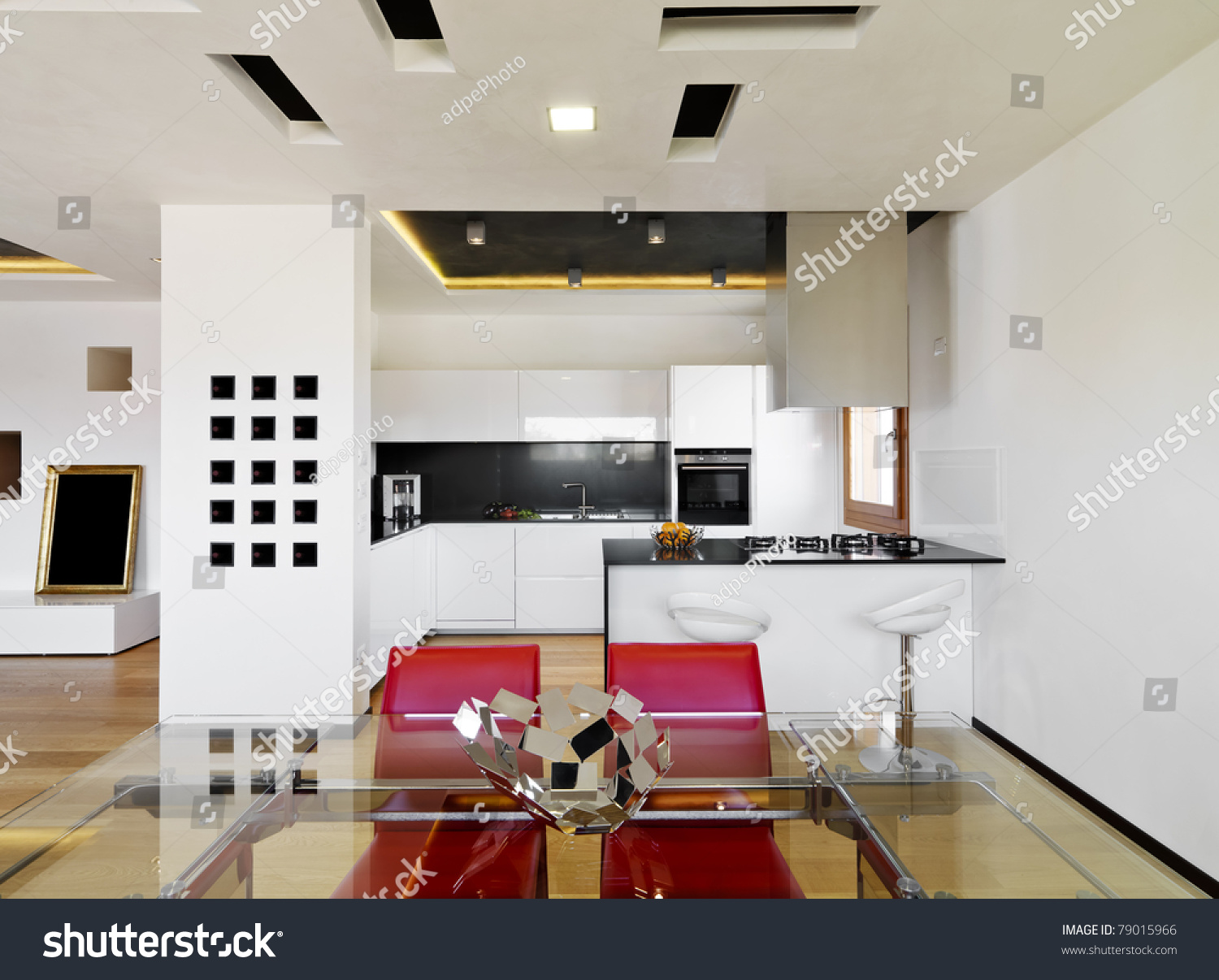 modern luxury white kitchen with wood floor stock photo 79015966