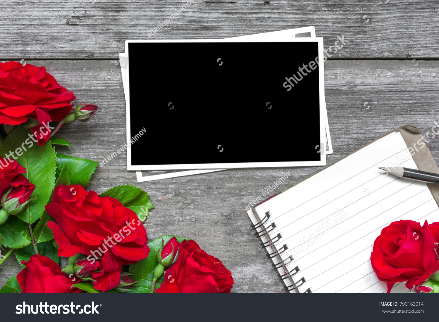 Blank Photo Frame Red Rose Flowers Stock Photo Edit Now 790163014