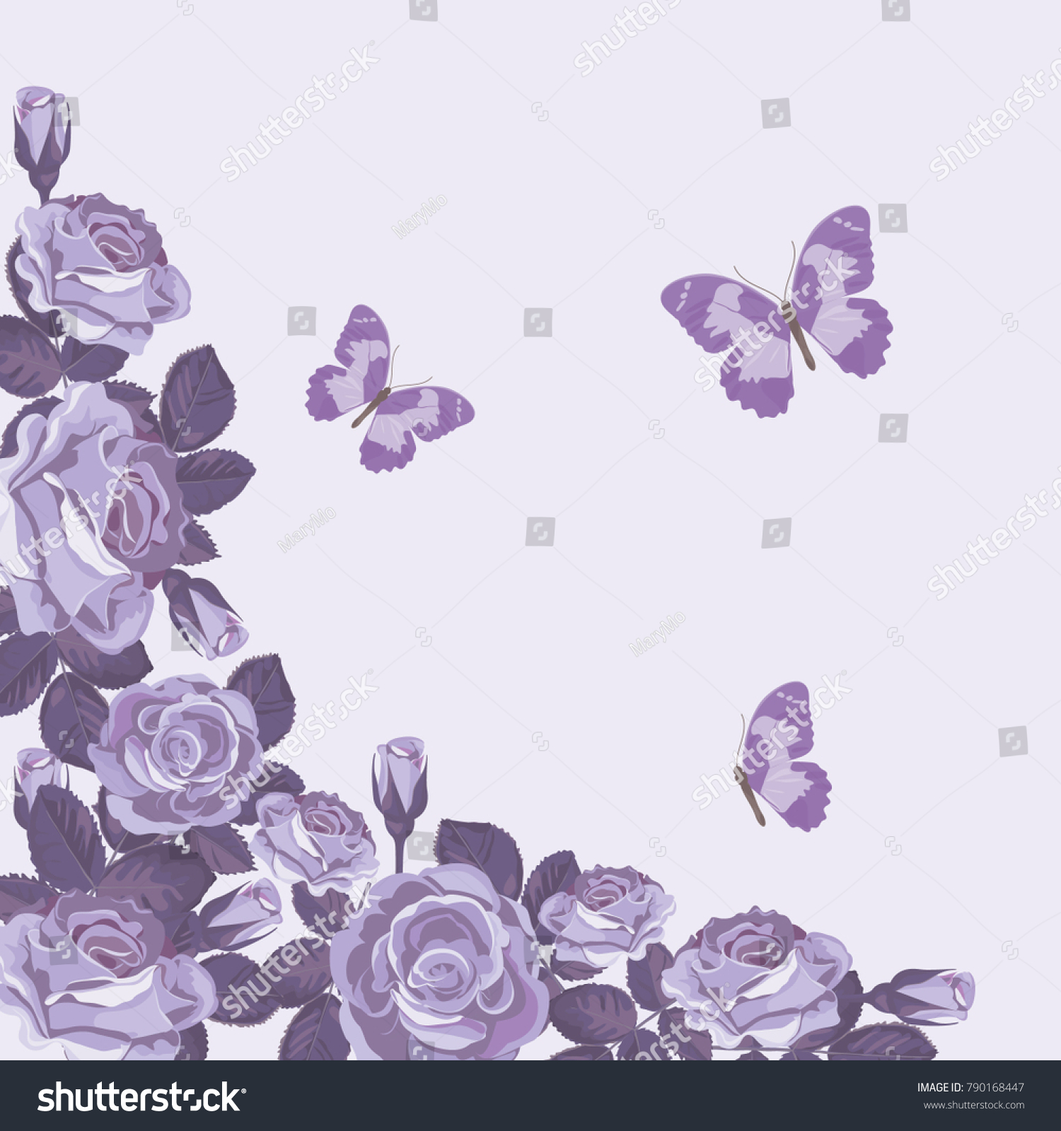 Floral Card Template Violet Roses Butterflies Stock Vector HD ...