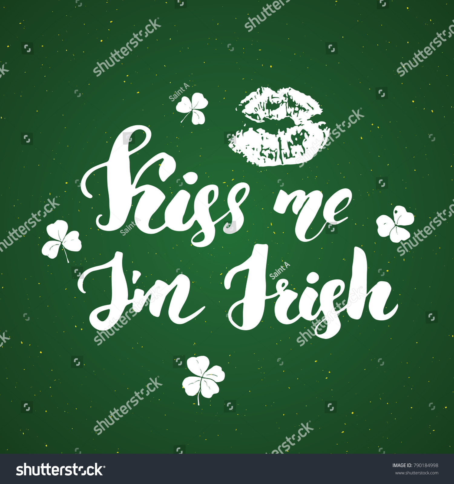 Kiss me irish st patricks day stock illustration 790184998 kiss me im irish st patricks day greeting card hand lettering with kristyandbryce Images