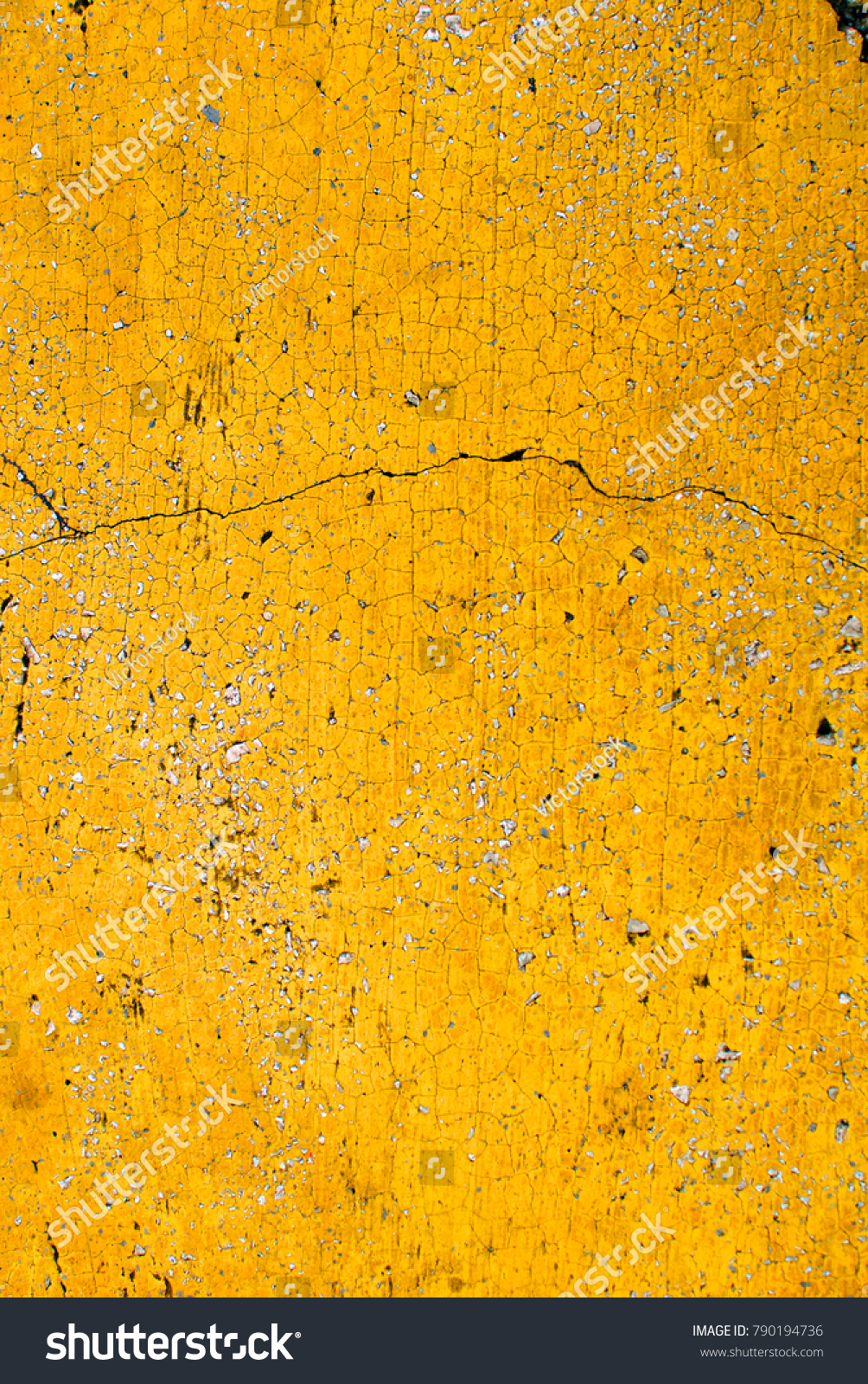 Close Yellow Wall Texture Cracks Vibrant Stock Photo (Royalty Free ...
