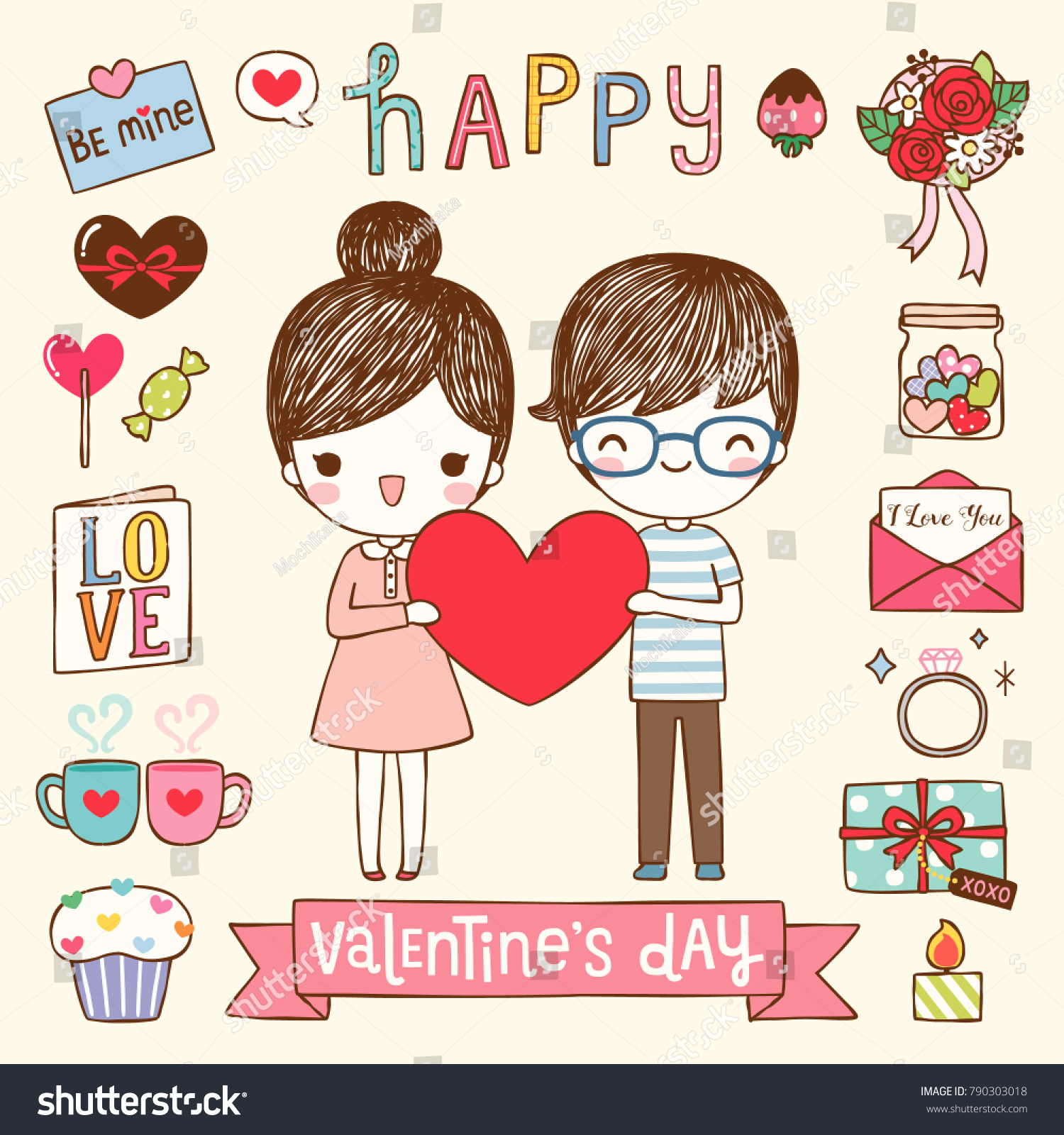 Happy Valentines Day Greeting Card Postcard Stock Vector Royalty