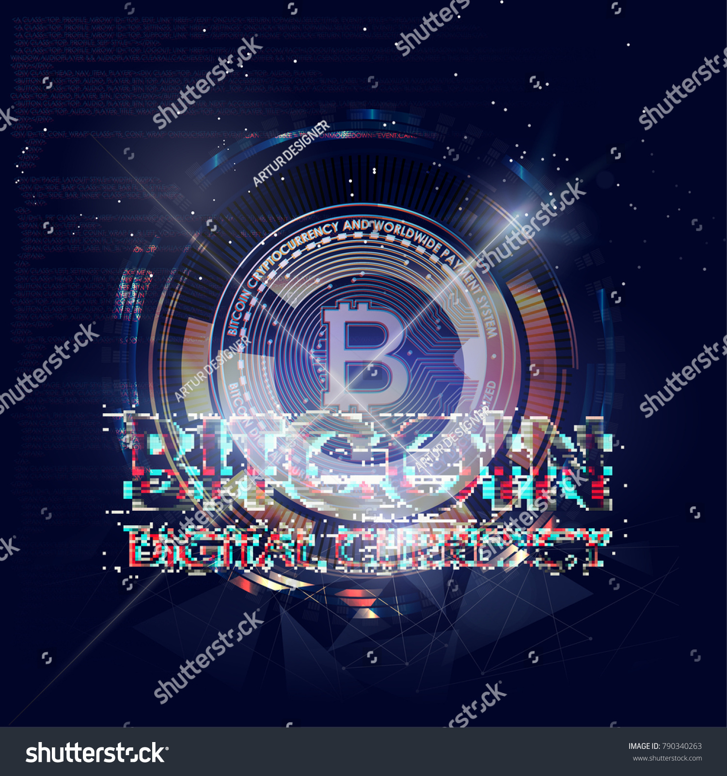 Abstract Glitch Bitcoin Crypto Currency Pixels Stock Vector