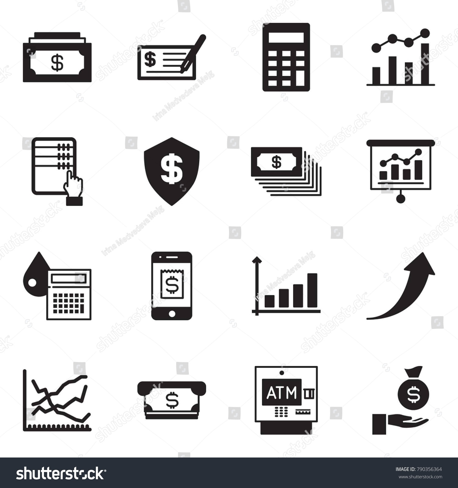 Solid black vector icon set cash stock vector 790356364 shutterstock solid black vector icon set cash vector check calculator chart abacus geenschuldenfo Choice Image