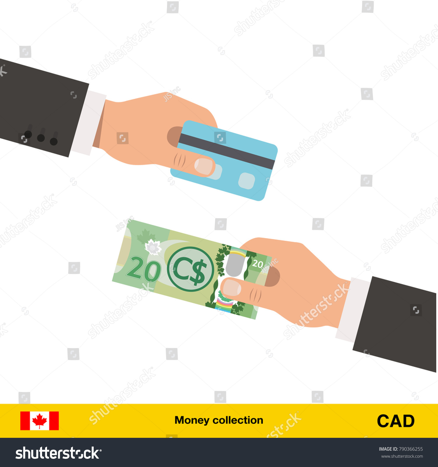 Hand Giving Canadian Dollar Banknote Credit Stock Vector 790366255 ...