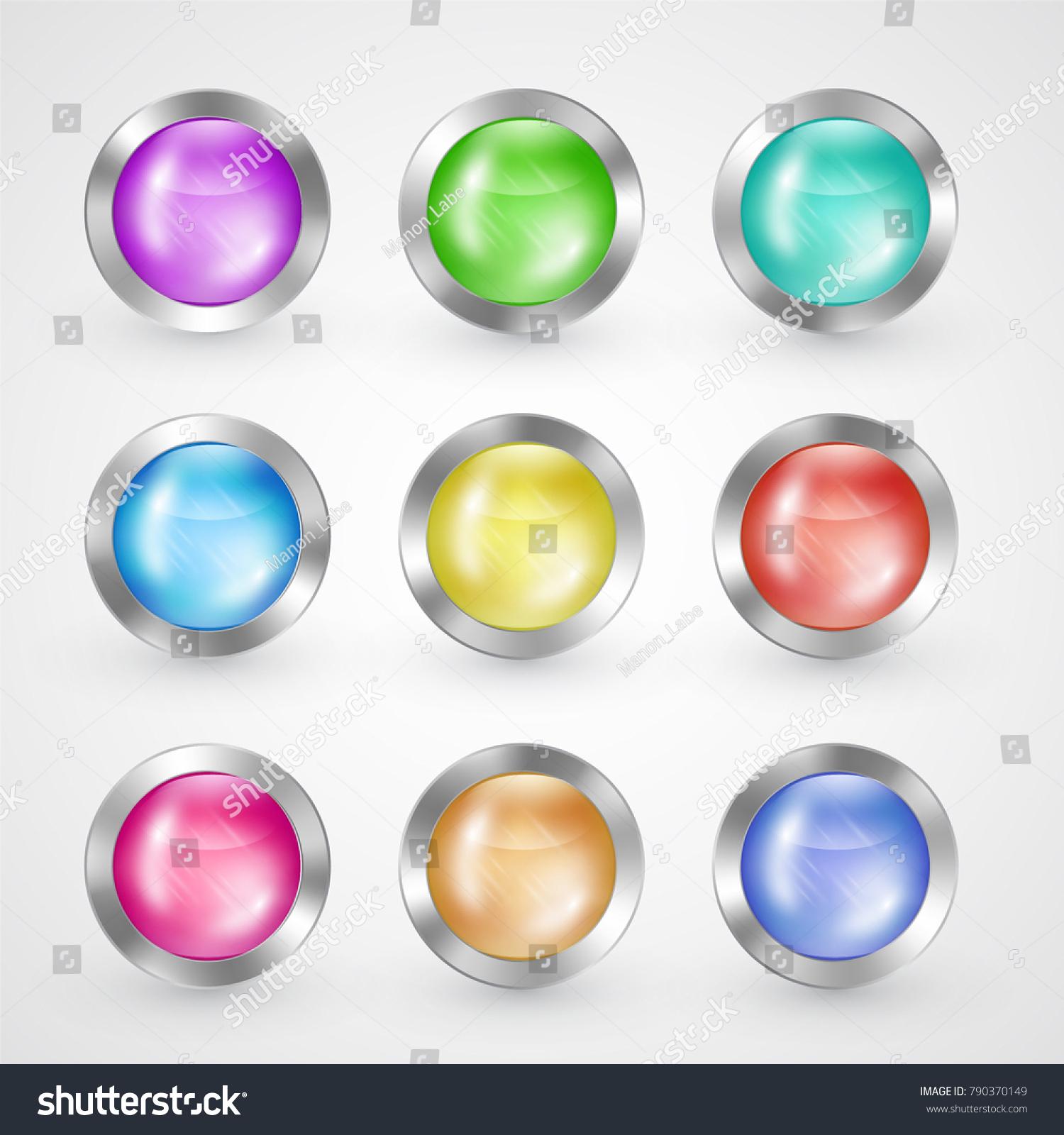 Set Of Colored Web Buttons Vector Ez Canvas