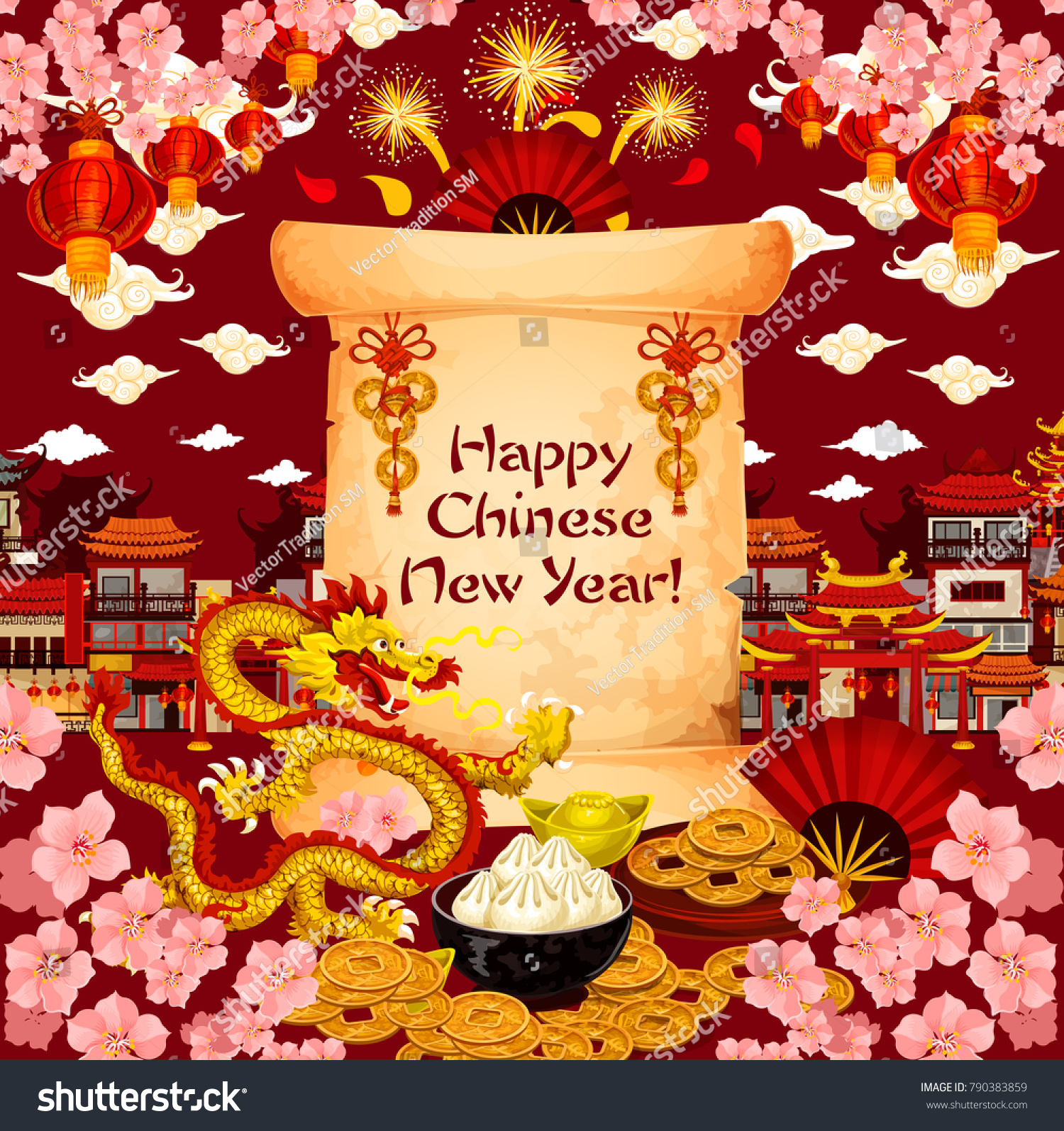 Chinese New Year Wish Text On Stock Vector (Royalty Free) 790383859 ...