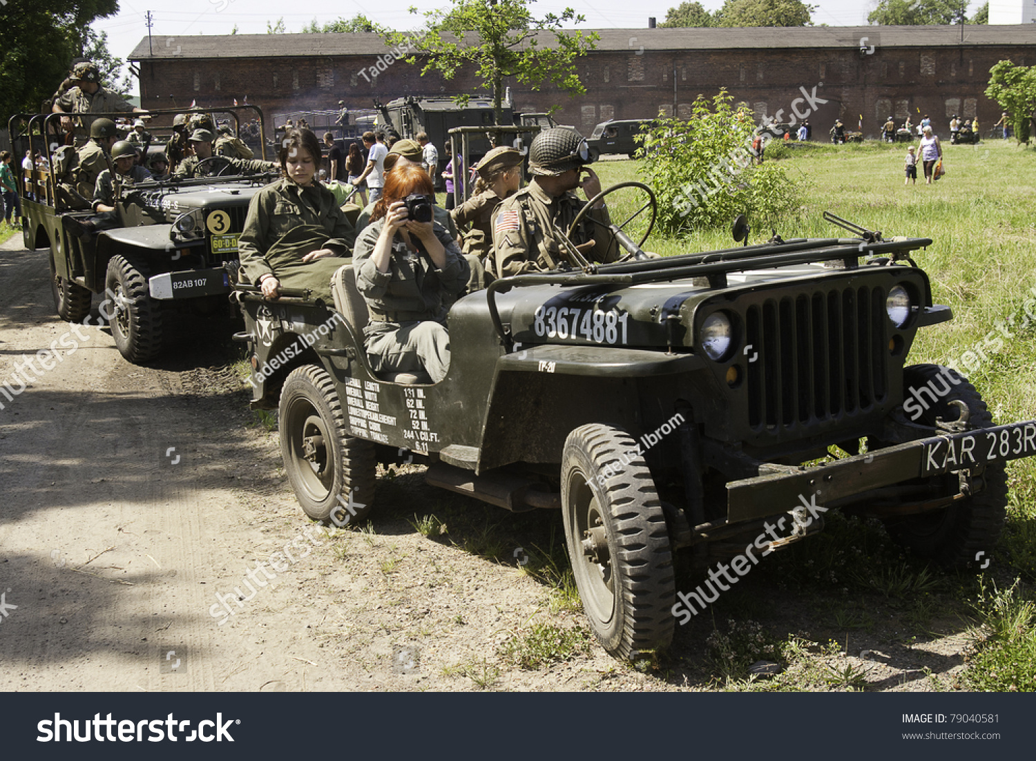 RADZIONKOW, POLAND - JUNE 04: Old military vehicles at demonstration race  during